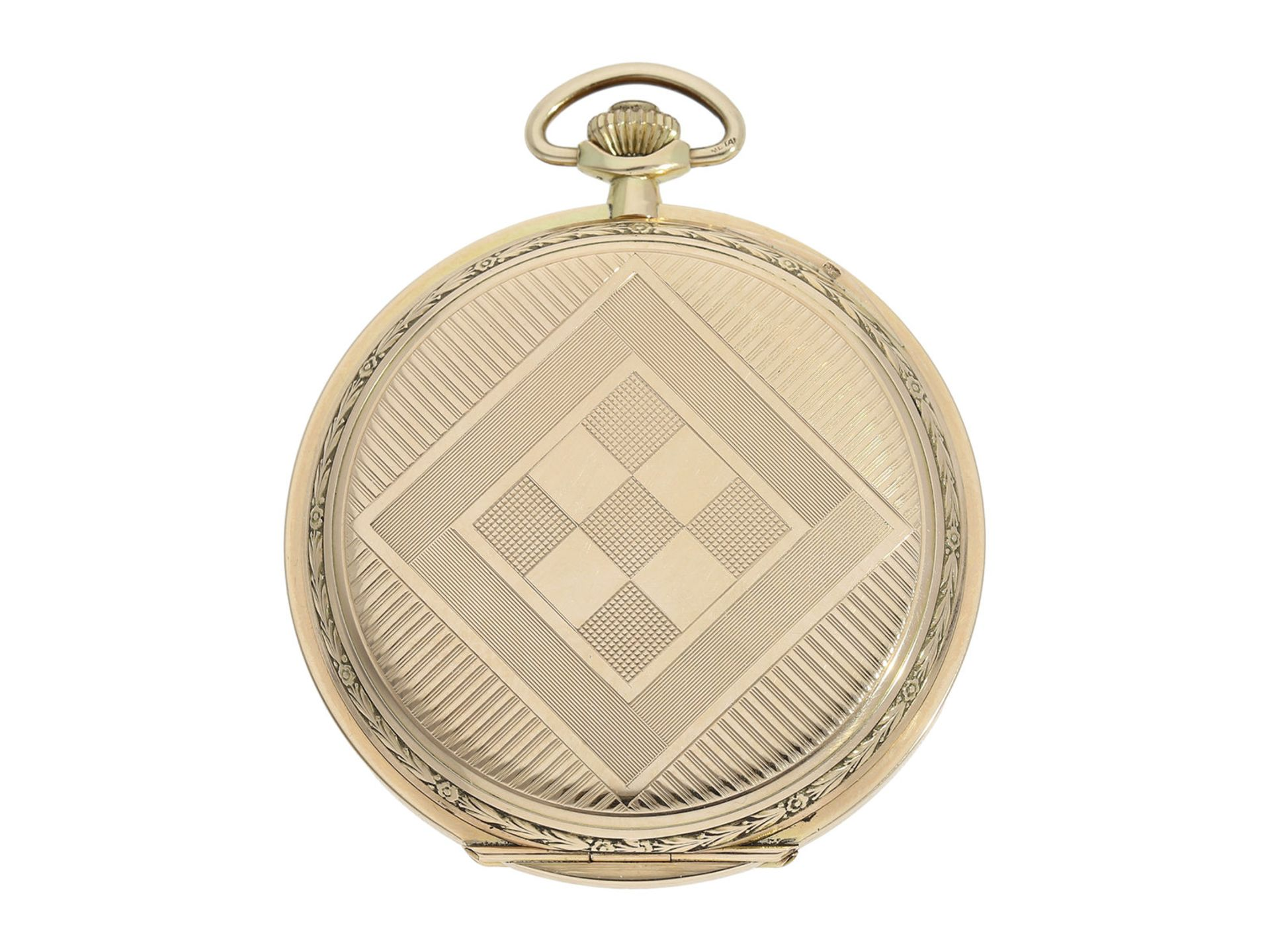Pocket watch: especially large and elegant Art Deco gold hunting case watch in very good - Bild 7 aus 8