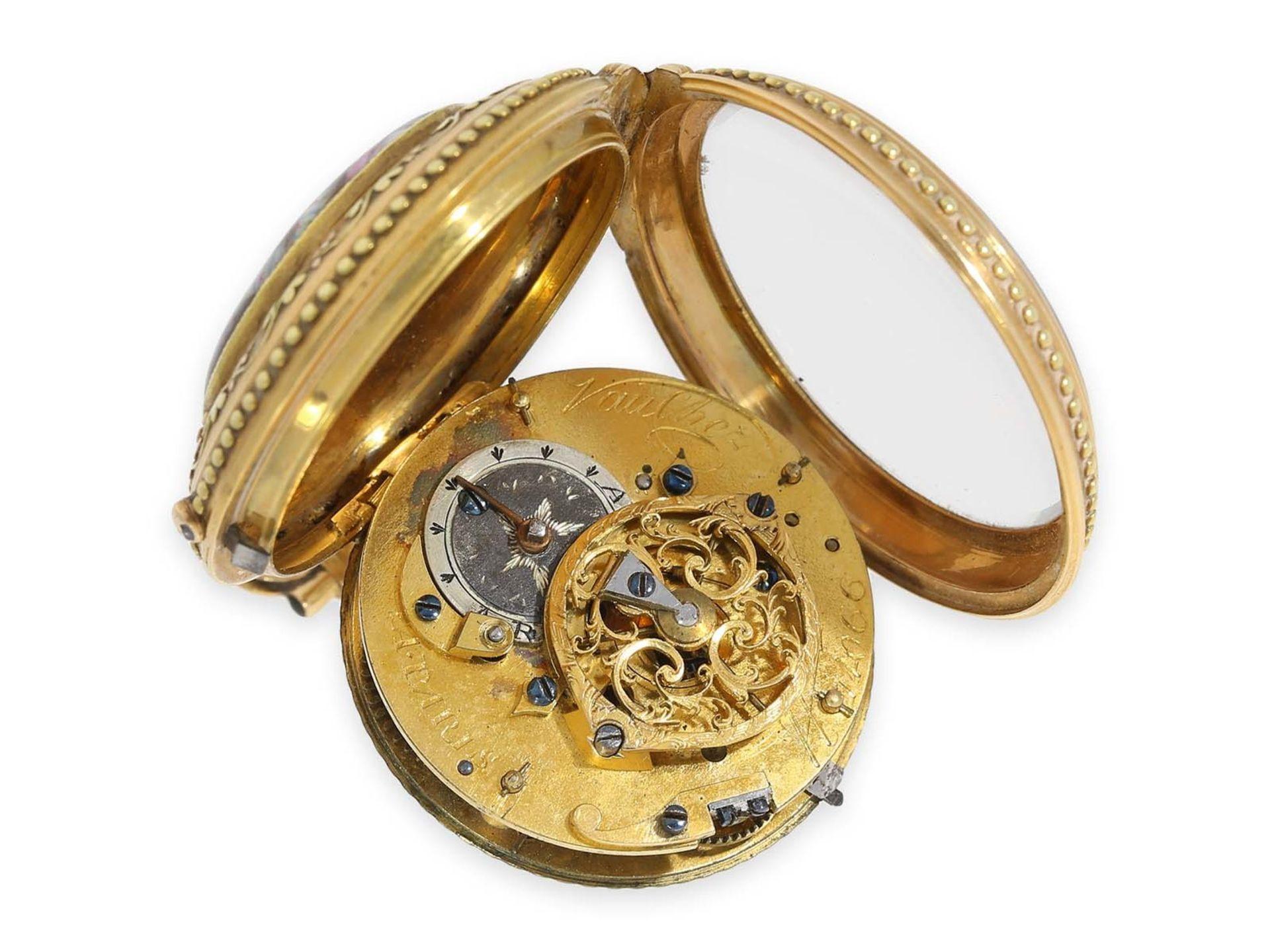 Pocket watch: gold/ enamel verge watch with finest enamel painting, excellent quality, Vaucher Paris - Bild 3 aus 3