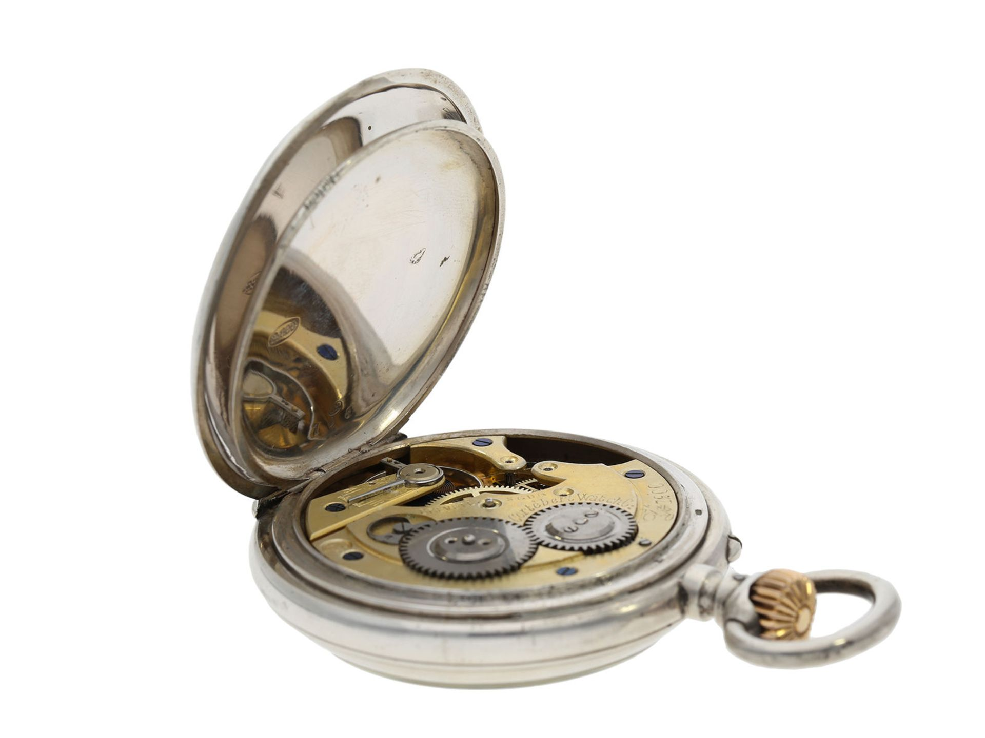 Pocket watch: rare digital pocket watch with jumping hour and jumping minute, Pallweber system, - Bild 3 aus 5