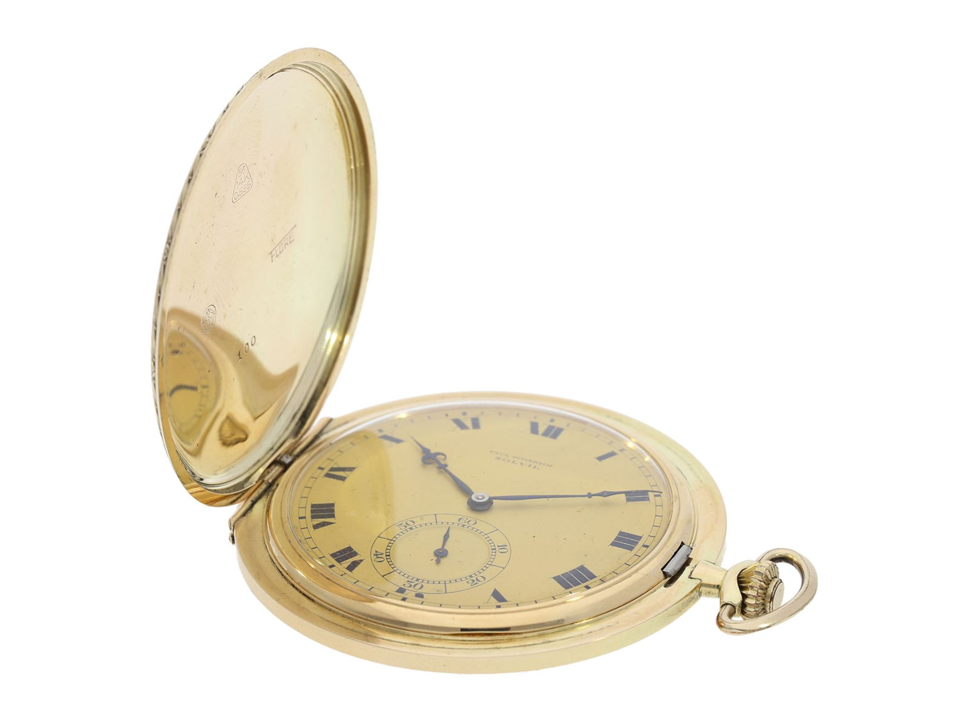 Pocket watch: especially large and elegant Art Deco gold hunting case watch in very good - Bild 2 aus 8