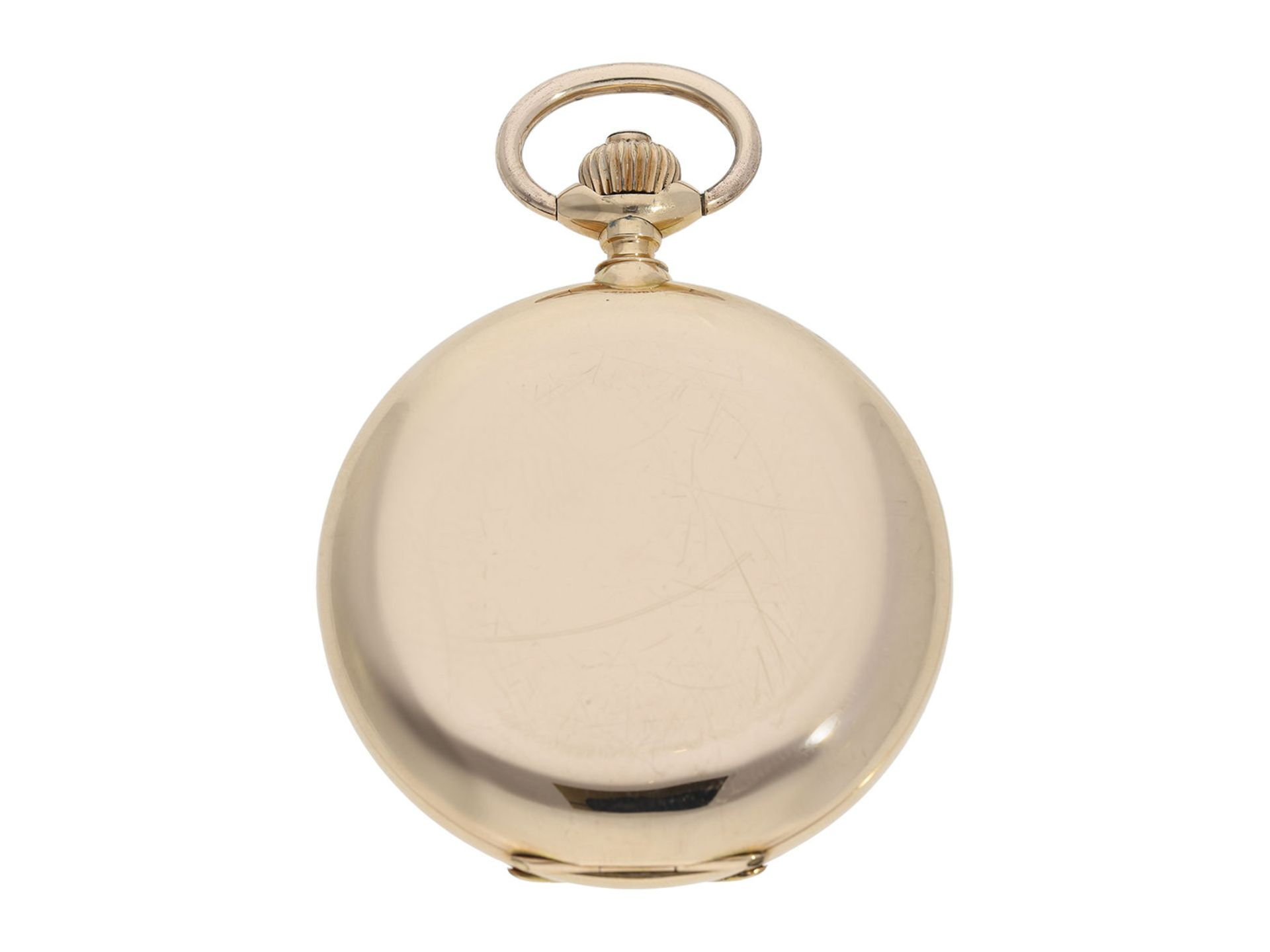 Pocket watch: especially heavy Swiss gold hunting case watch with chronometer escapement, ca. - Bild 7 aus 8