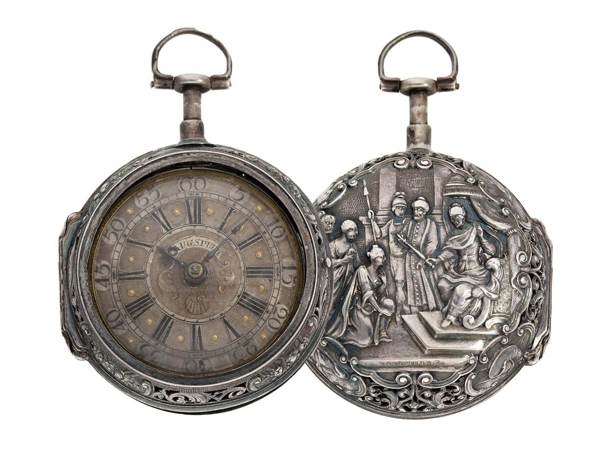 Pocket watch: Augsburg pair case repousse verge watch with relief case in exceptional quality and