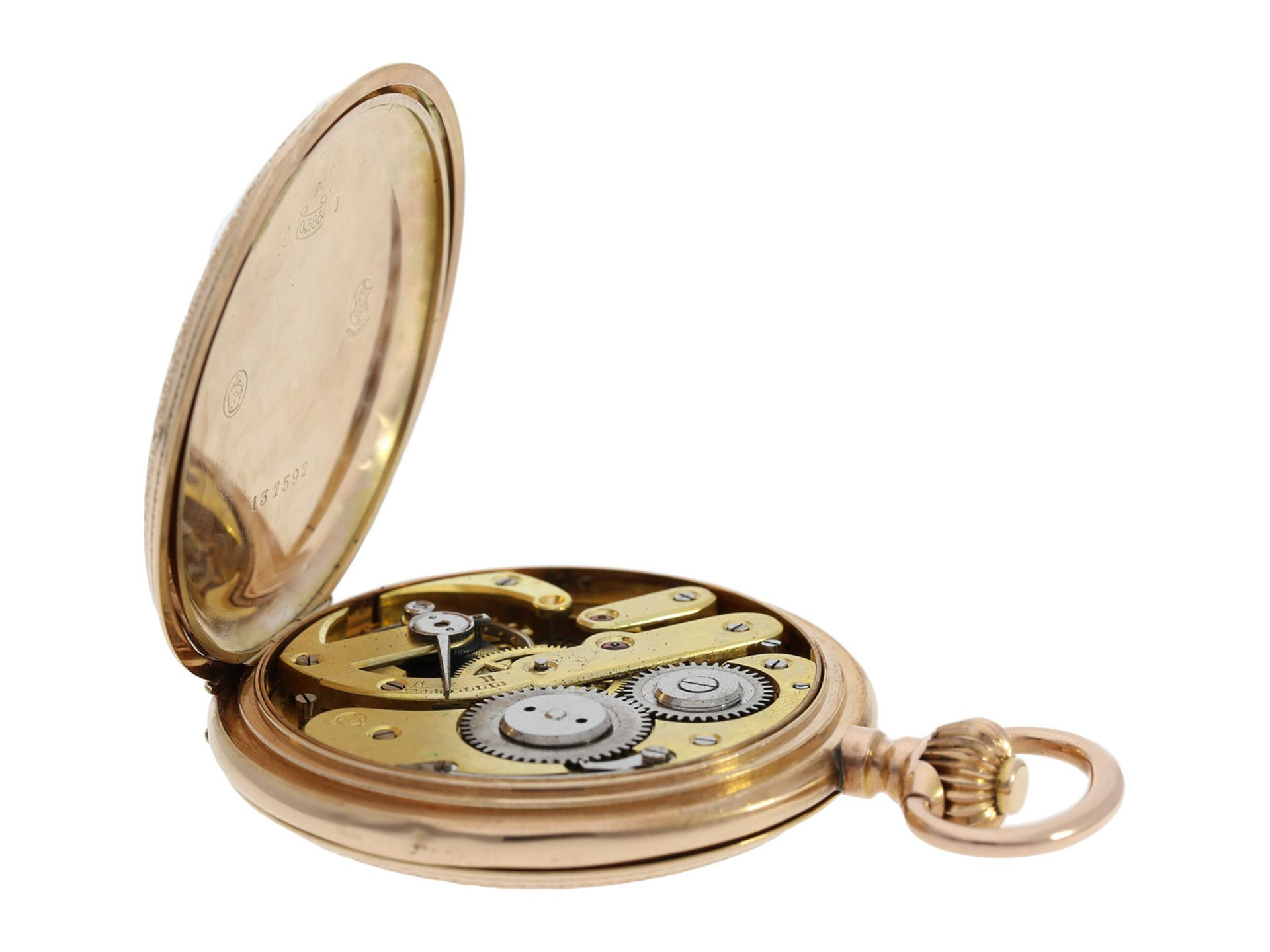 Pocket watch: extremely decorative pink gold splendour hunting case watch with Renaissance case, - Bild 8 aus 9