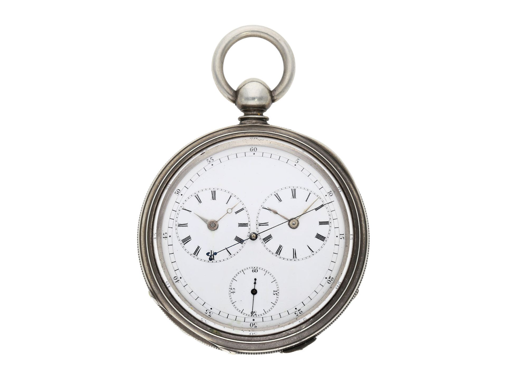 Pocket watch: early deck watch with 2 time zones and independent, stoppable centre seconds, signed