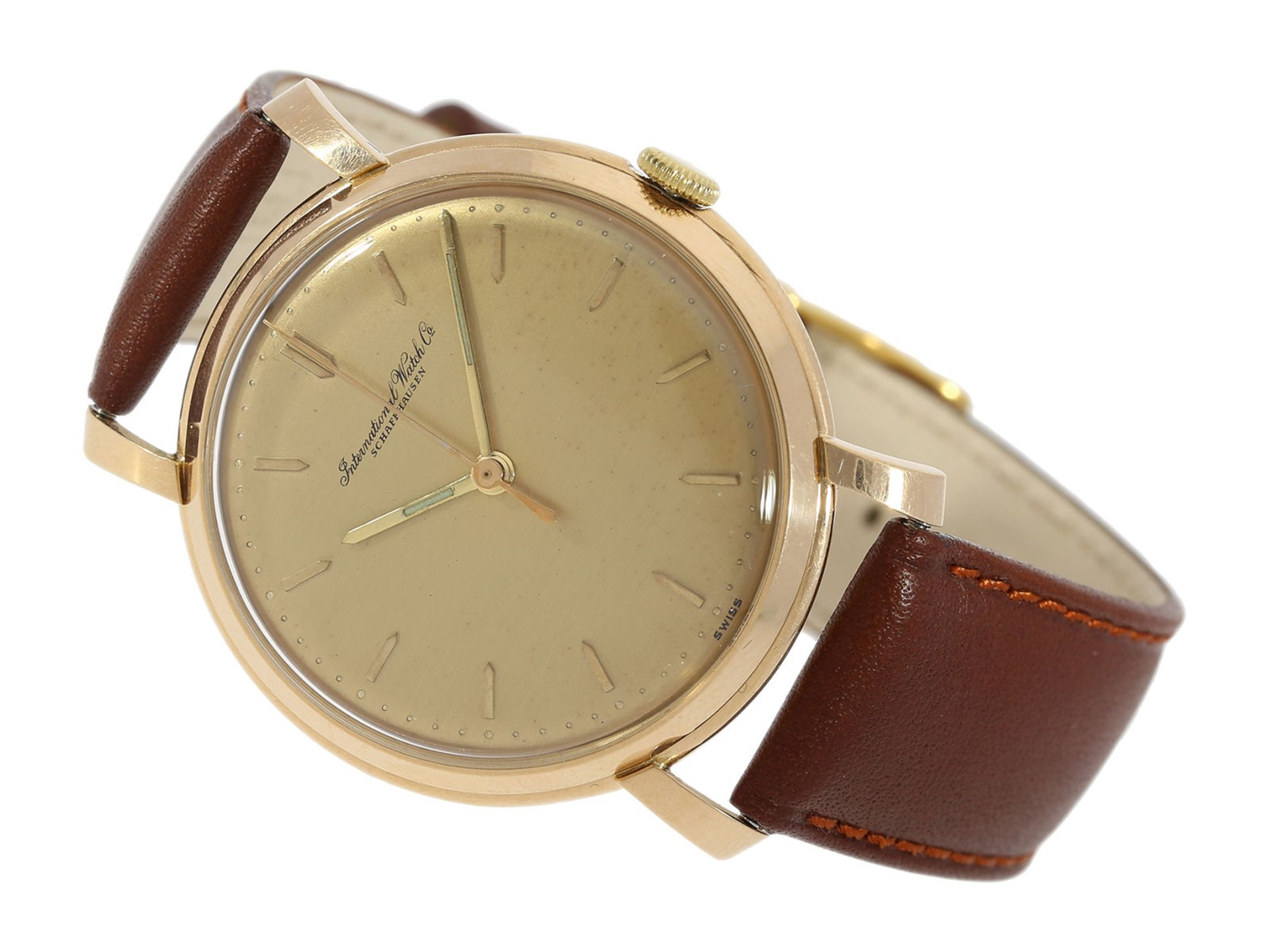 "Wristwatch: extra large ""oversize"" pink gold vintage IWC man's watch with special case and centre"
