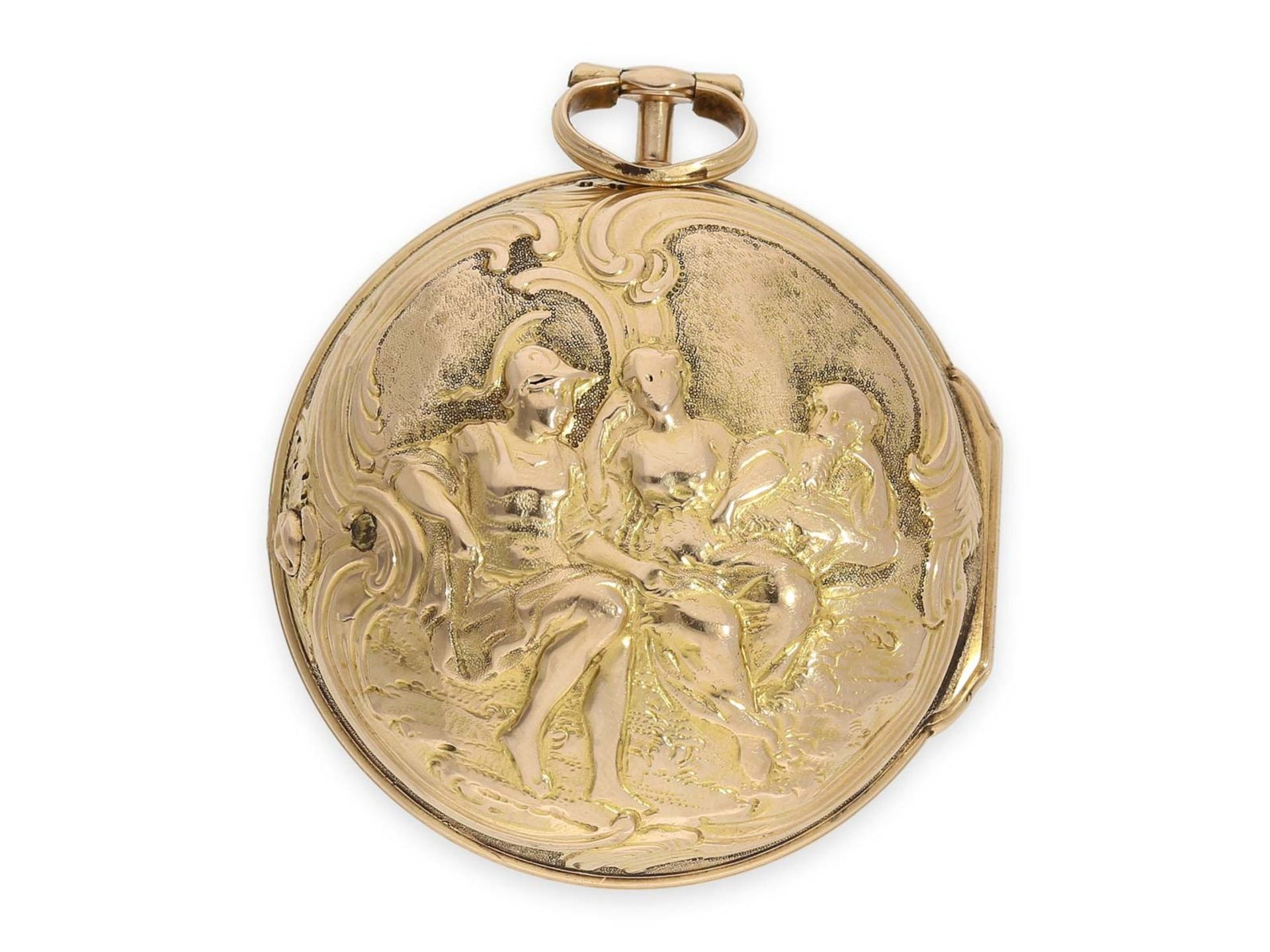 Pocket watch: early triple case gold repousse verge watch, signed Rose London, ca. 1770 - Bild 6 aus 8
