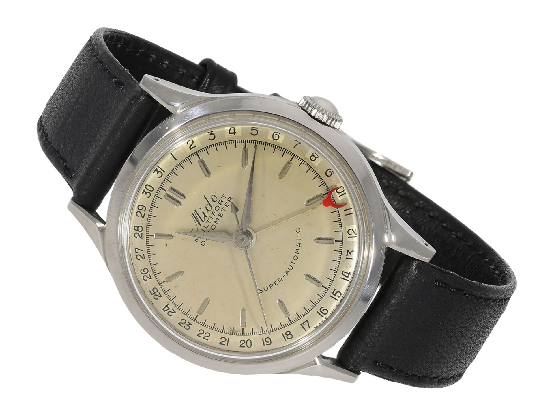 """Wristwatch: early automatic man's watch with date, """"Mido Multifort Datometer"""", stainless steel, Ref."""