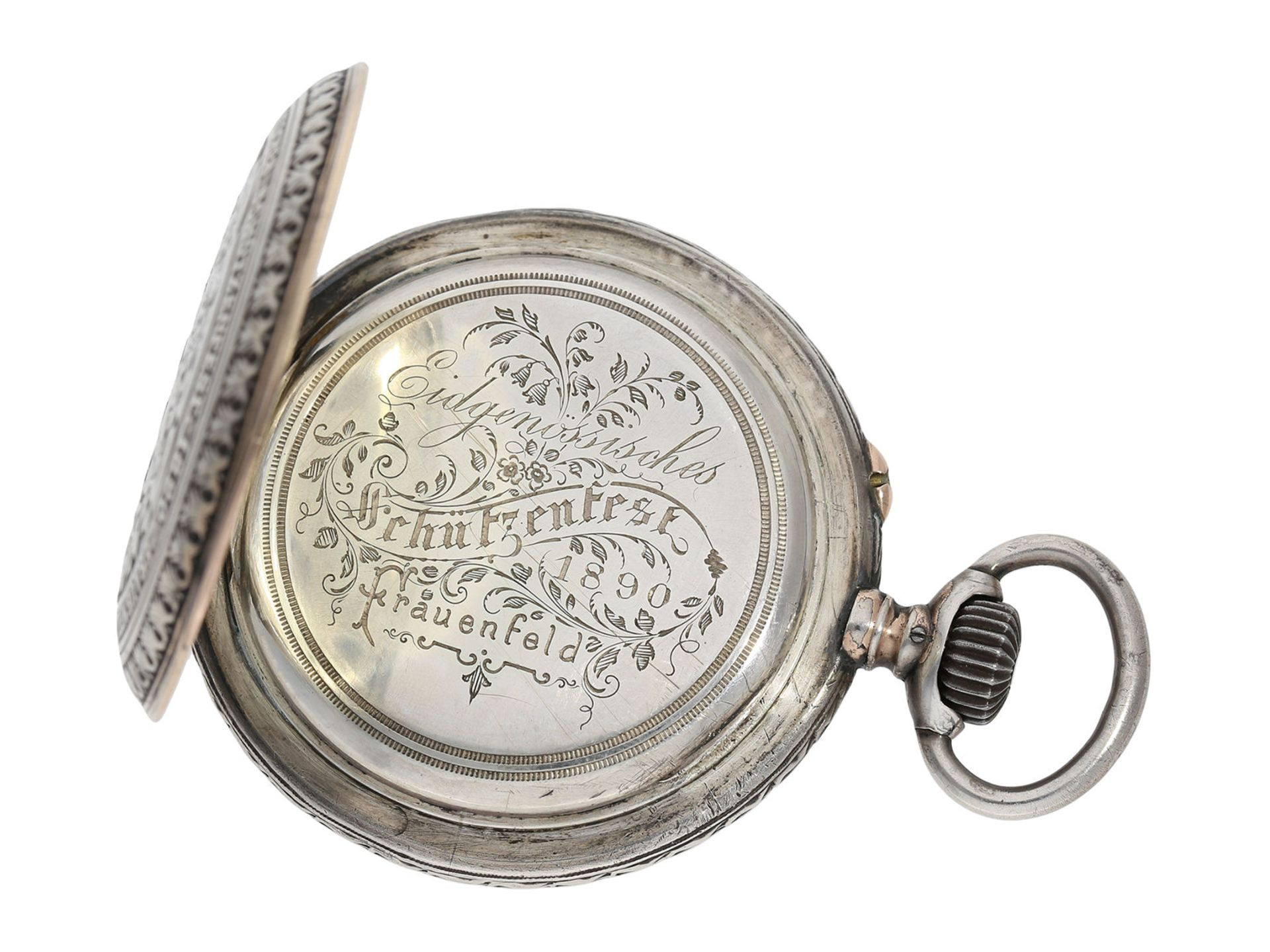 Pocket watch: large IWC marksman's watch, Federal Shooting Festival Frauenfeld 1890 - Bild 2 aus 6