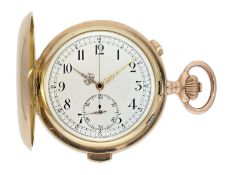 Pocket watch: especially large and heavy Swiss gold hunting case minute repeater with chronograph,