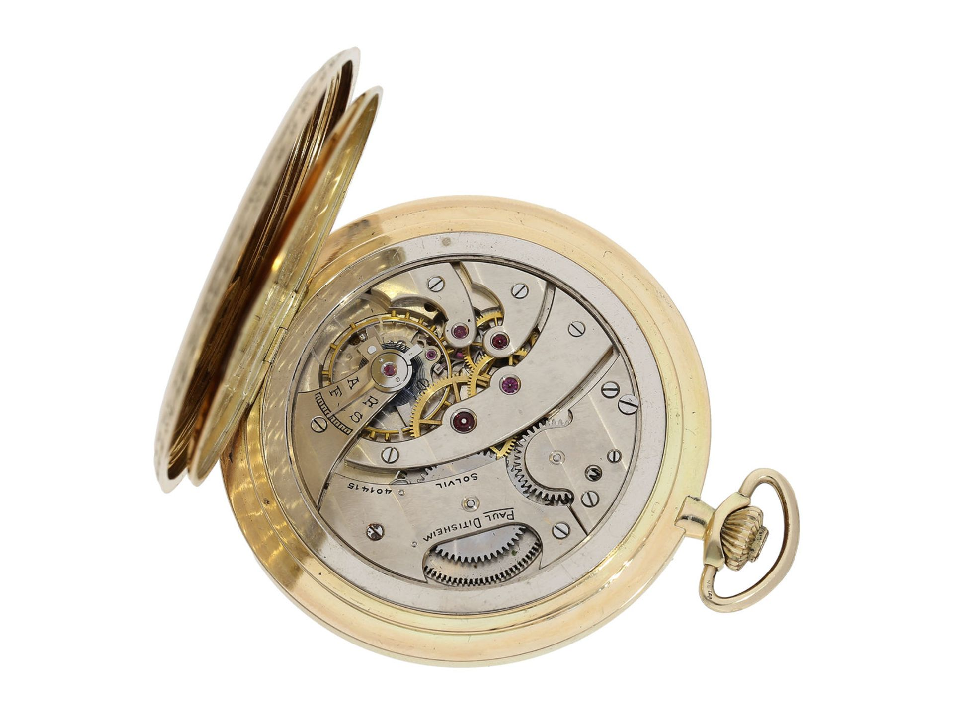Pocket watch: especially large and elegant Art Deco gold hunting case watch in very good - Bild 5 aus 8