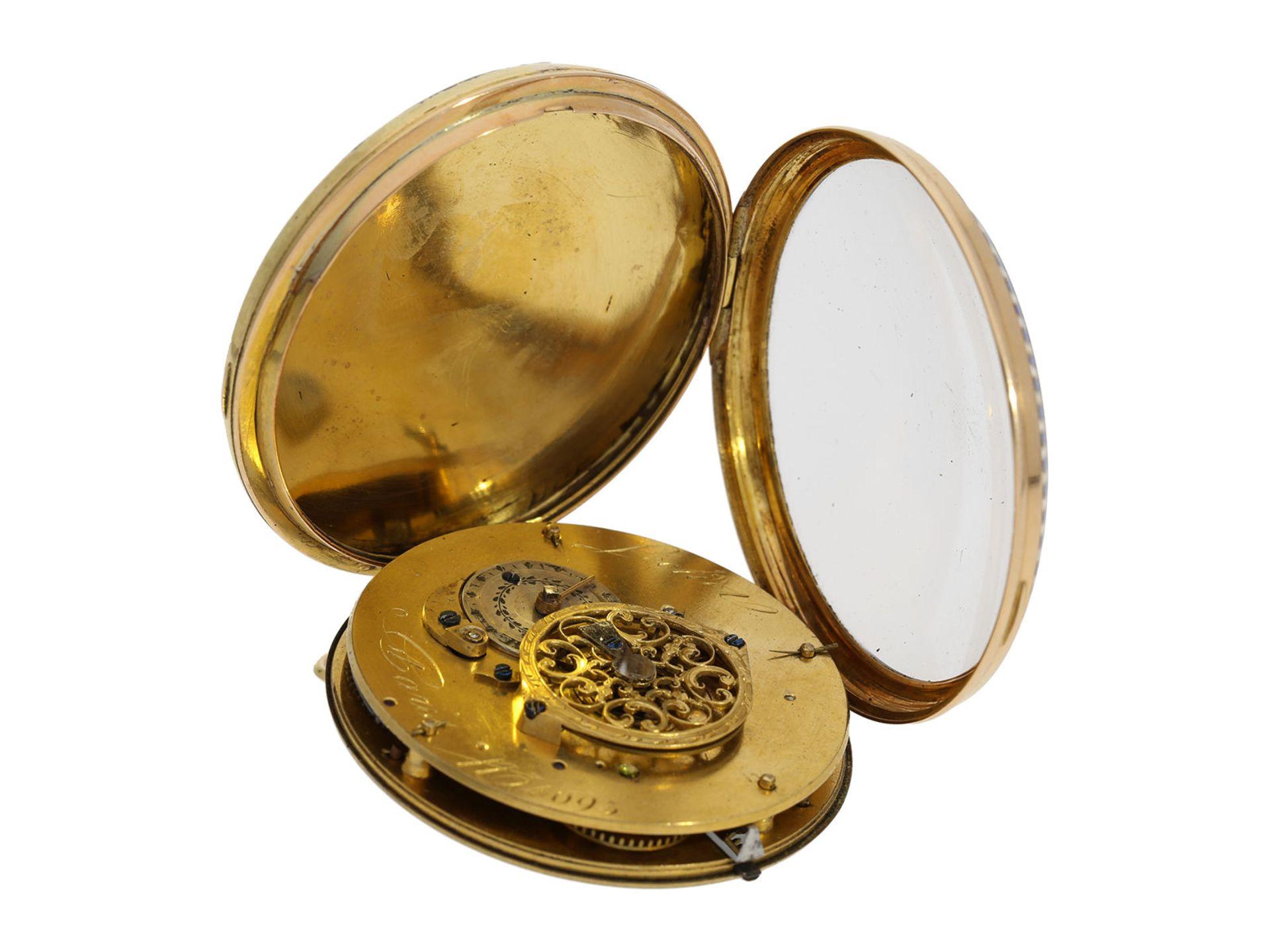 Pocket watch: large gold/ enamel pocket watch, Lechet a Paris, ca. 1795 - Bild 4 aus 4