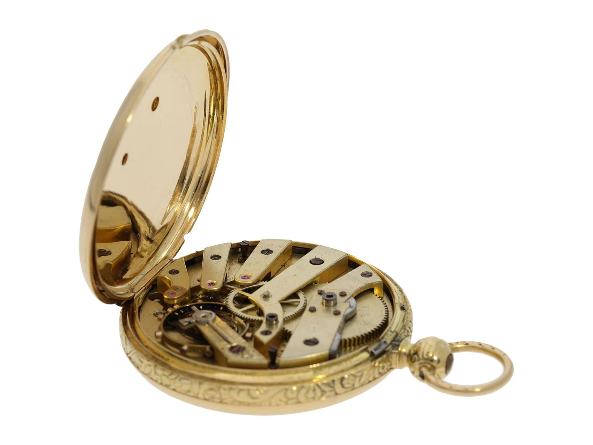 Pocket watch: interesting early gold hunting case watch for the Ottoman market/ Turkish market, - Bild 6 aus 8