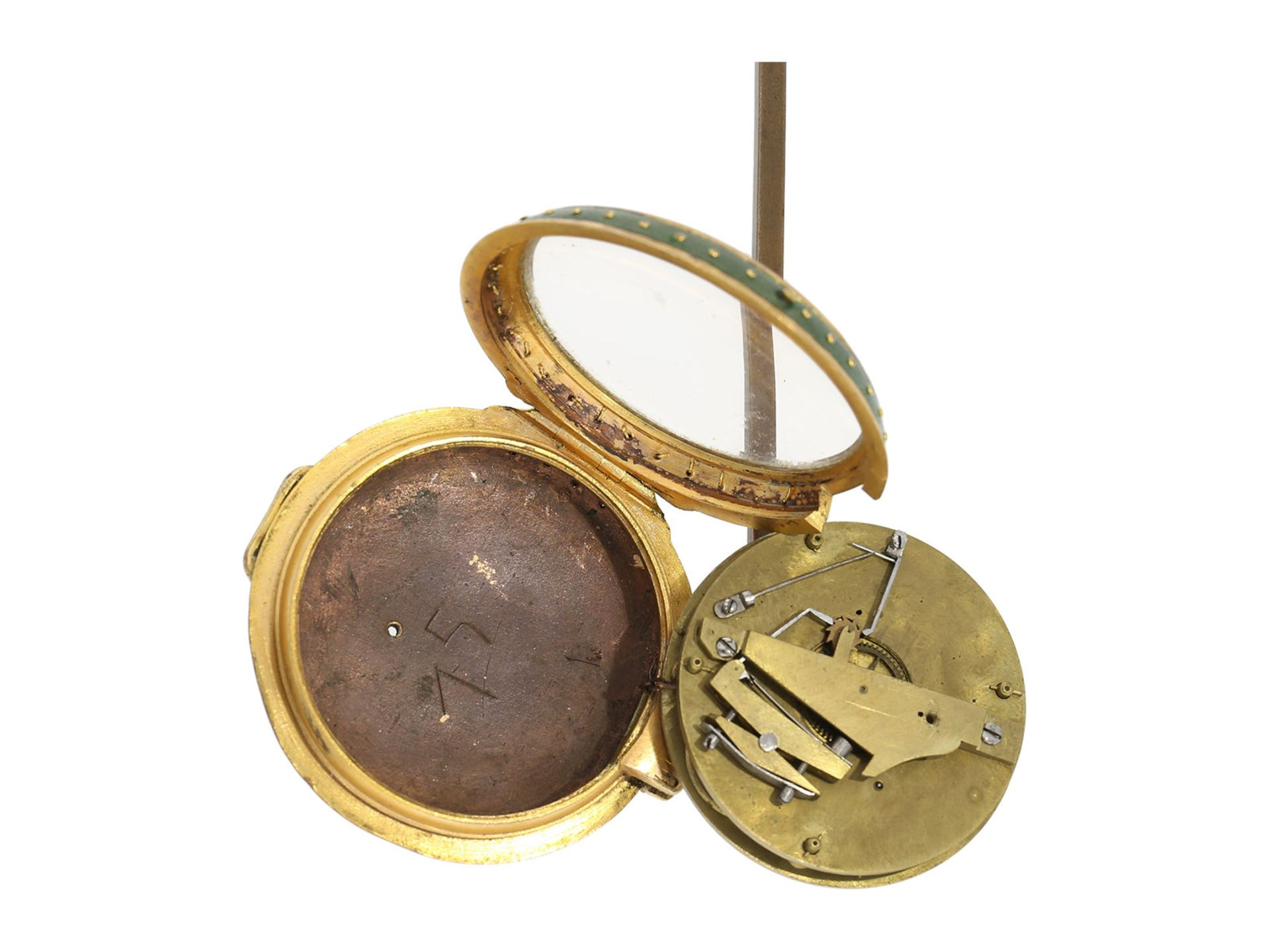 Pocket watch: very early and rare English pedometer, Spencer and Perkins London, ca. 1780 - Bild 2 aus 4