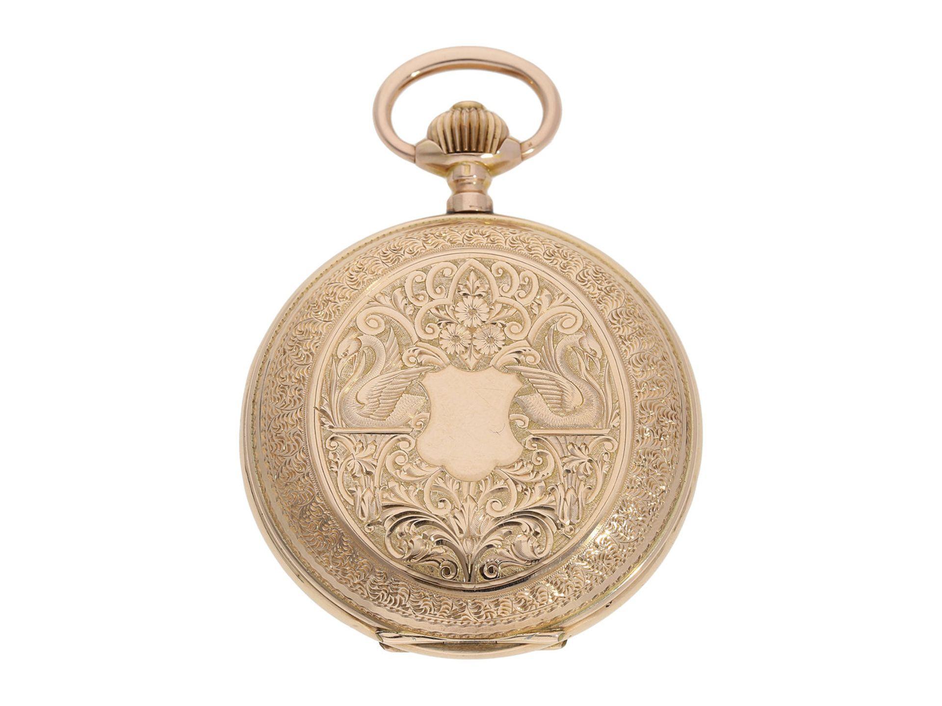 Pocket watch: extremely decorative pink gold splendour hunting case watch with Renaissance case, - Bild 9 aus 9