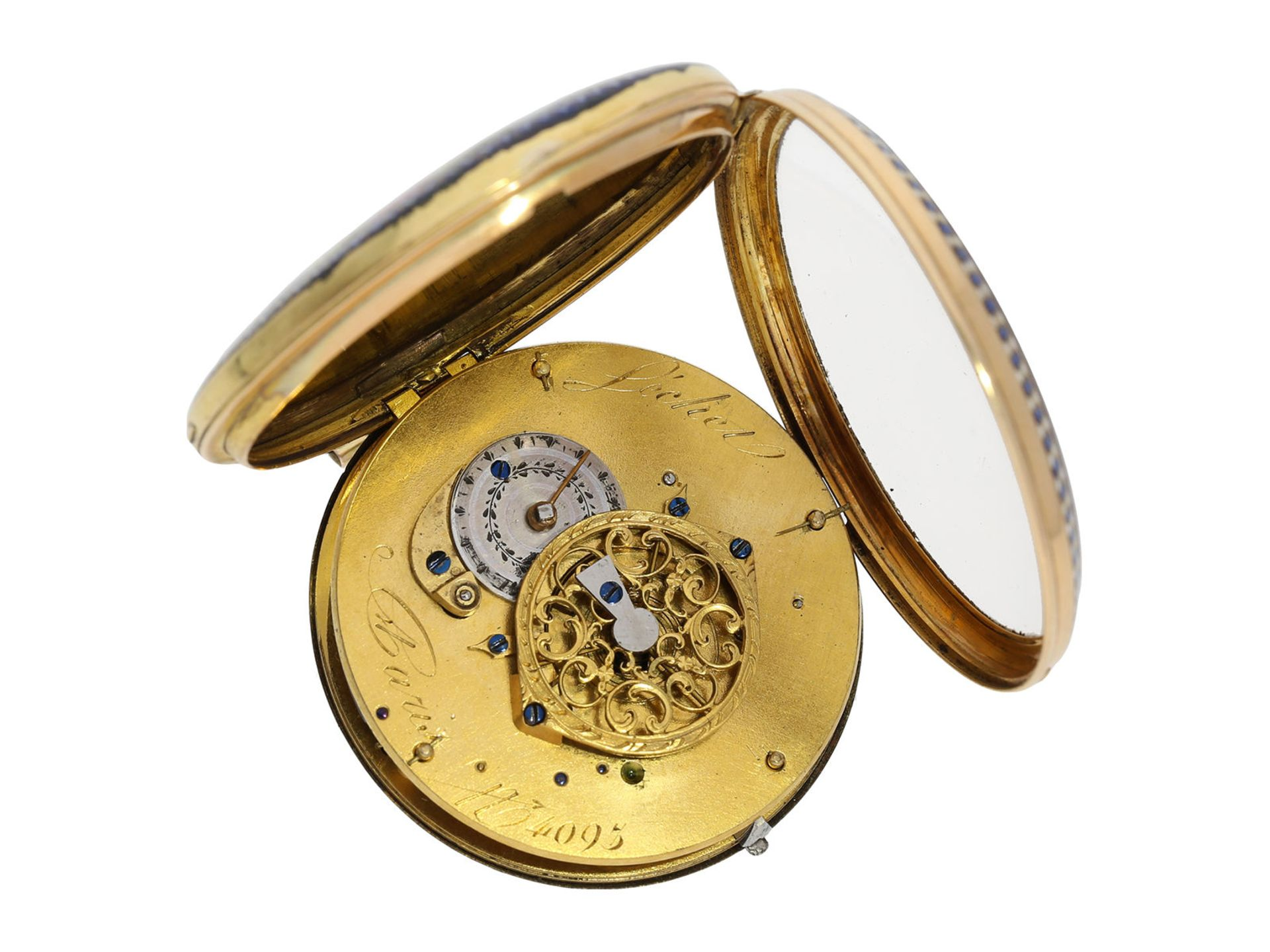 Pocket watch: large gold/ enamel pocket watch, Lechet a Paris, ca. 1795 - Bild 3 aus 4