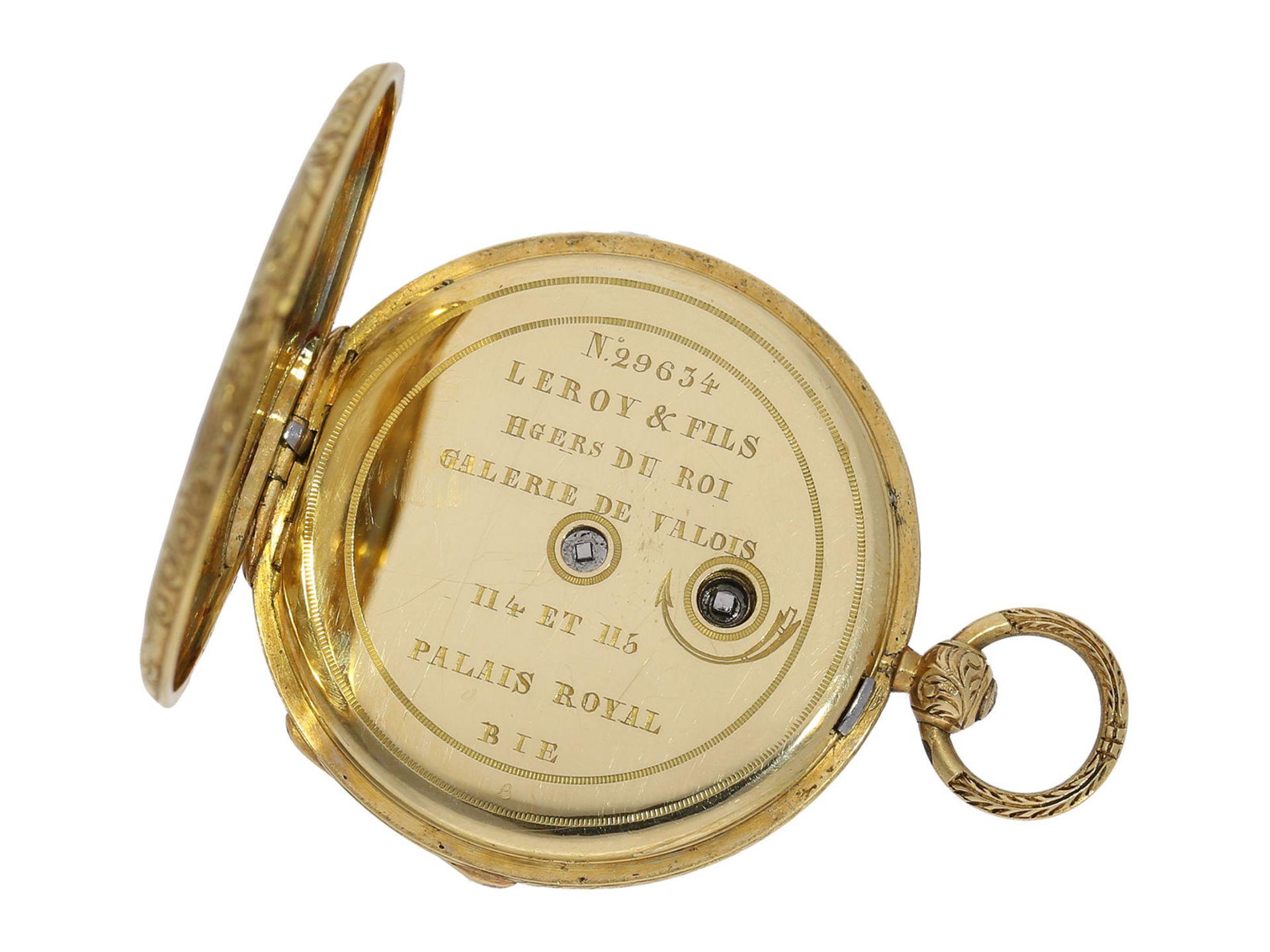 Pocket watch/ pendant watch: elegant gold/ enamel lady's Lepine with diamond setting and original - Bild 4 aus 6