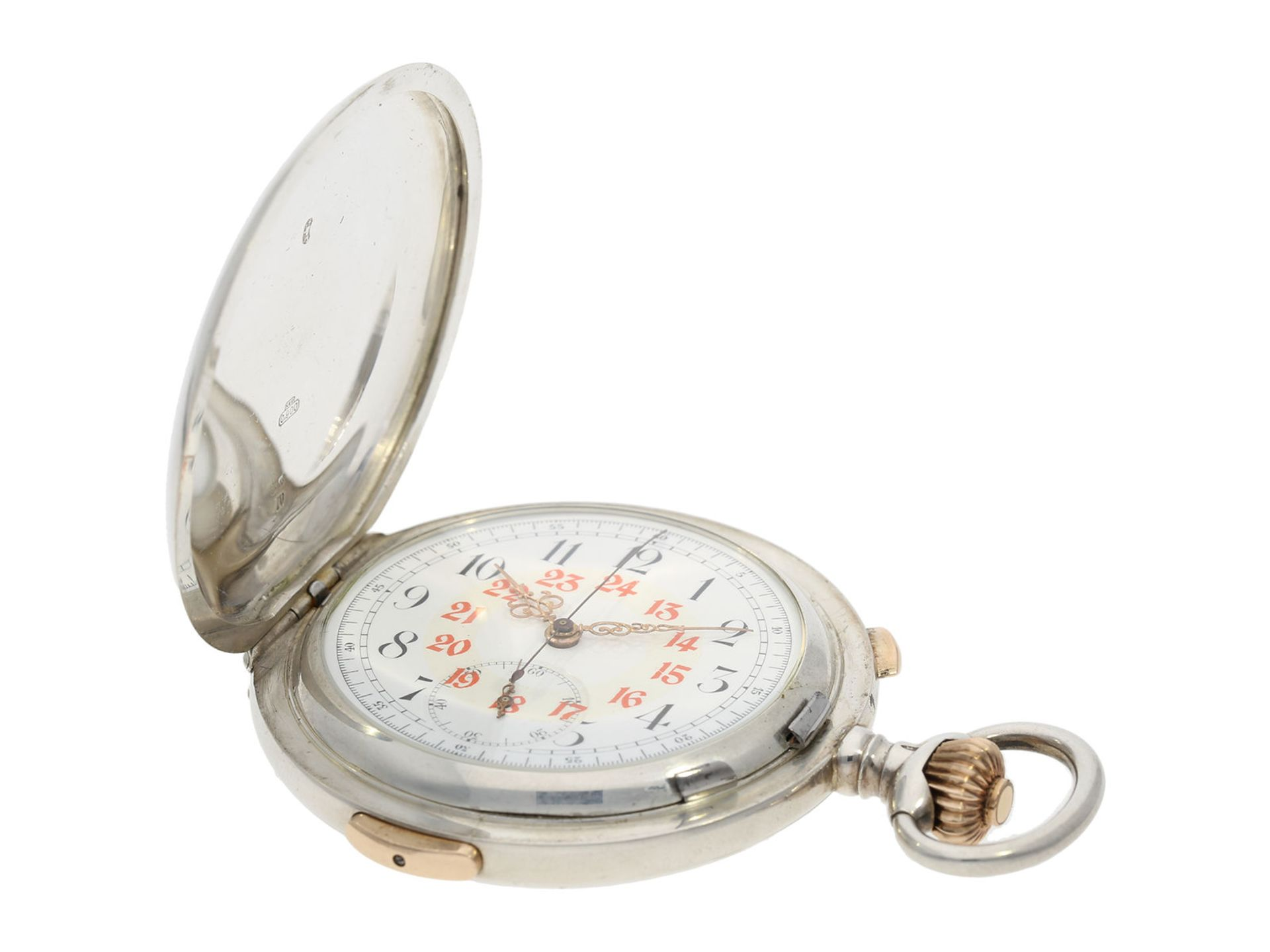 Pocket watch: high quality hunting case watch repeater with chronograph, Patent Swiss 13944 ( - Bild 2 aus 7