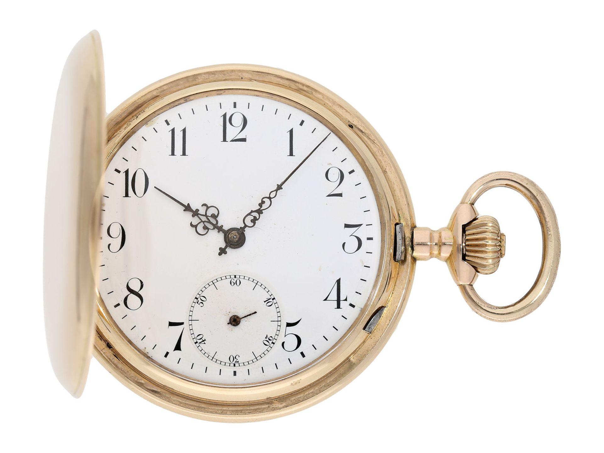 Pocket watch: heavy pink gold hunting case watch, Swiss Ankerchronometer, around 1900, No.