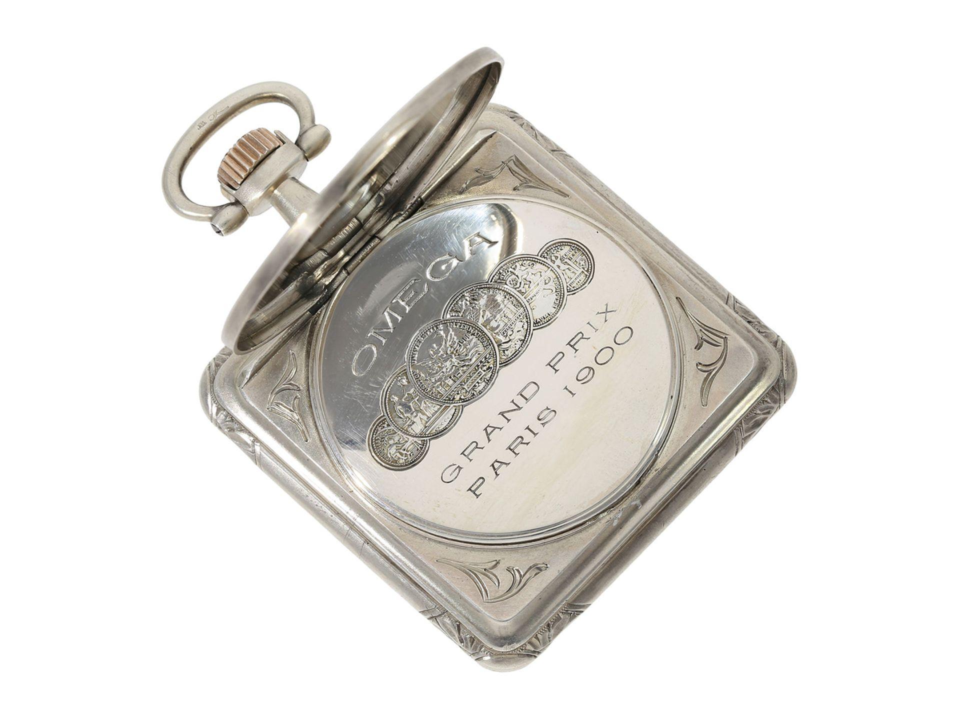 Pocket watch: very rare square Art Nouveau Omega pocket watch, silver, ca. 1900 - Bild 3 aus 5
