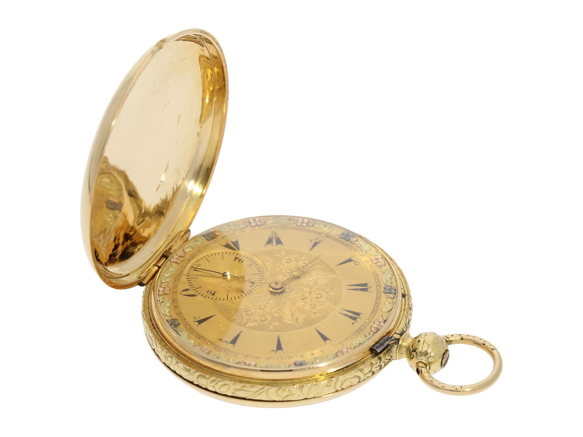 Pocket watch: interesting early gold hunting case watch for the Ottoman market/ Turkish market, - Bild 2 aus 8