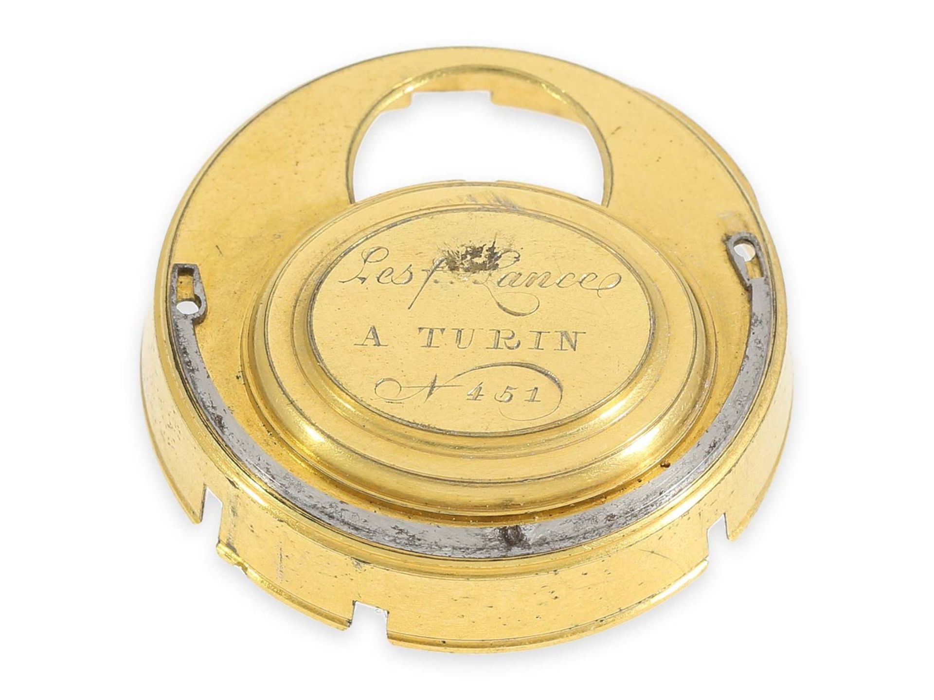 Pocket watch: extraordinary large Italian verge watch repeater a toc et a tact, Les Freres Lance - Bild 4 aus 4