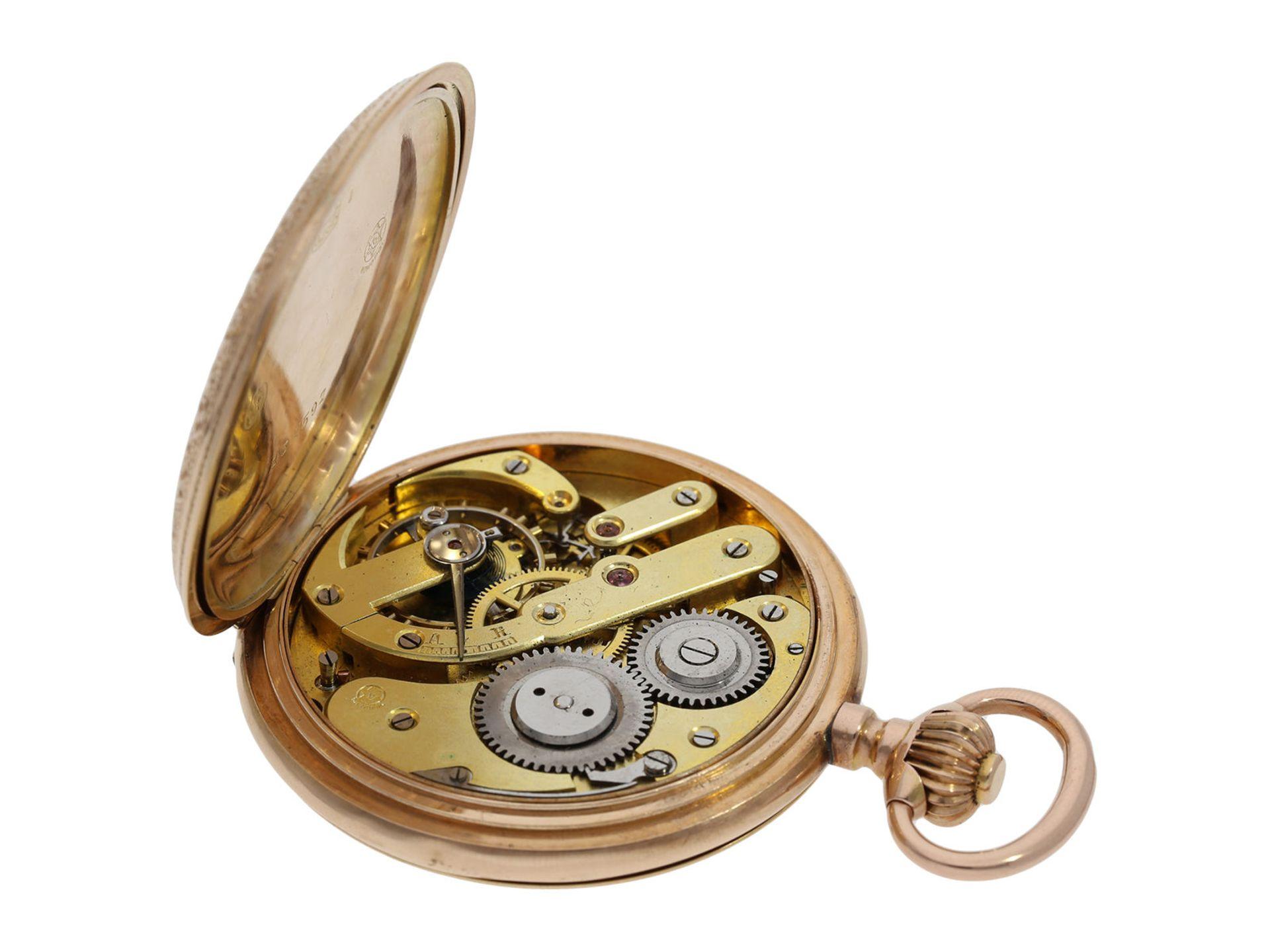 Pocket watch: extremely decorative pink gold splendour hunting case watch with Renaissance case, - Bild 7 aus 9