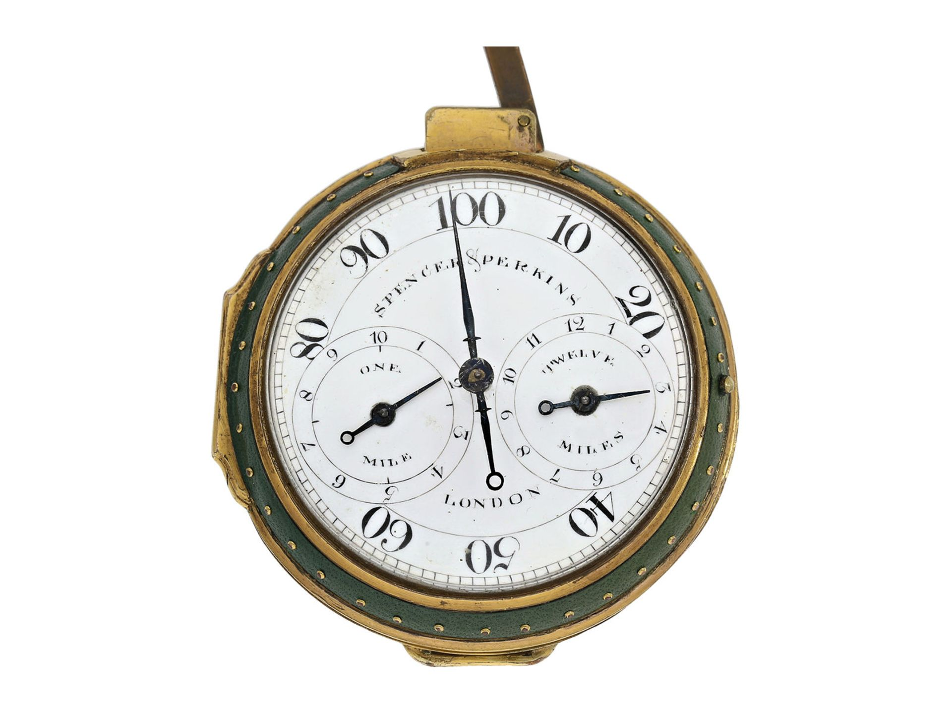 Pocket watch: very early and rare English pedometer, Spencer and Perkins London, ca. 1780