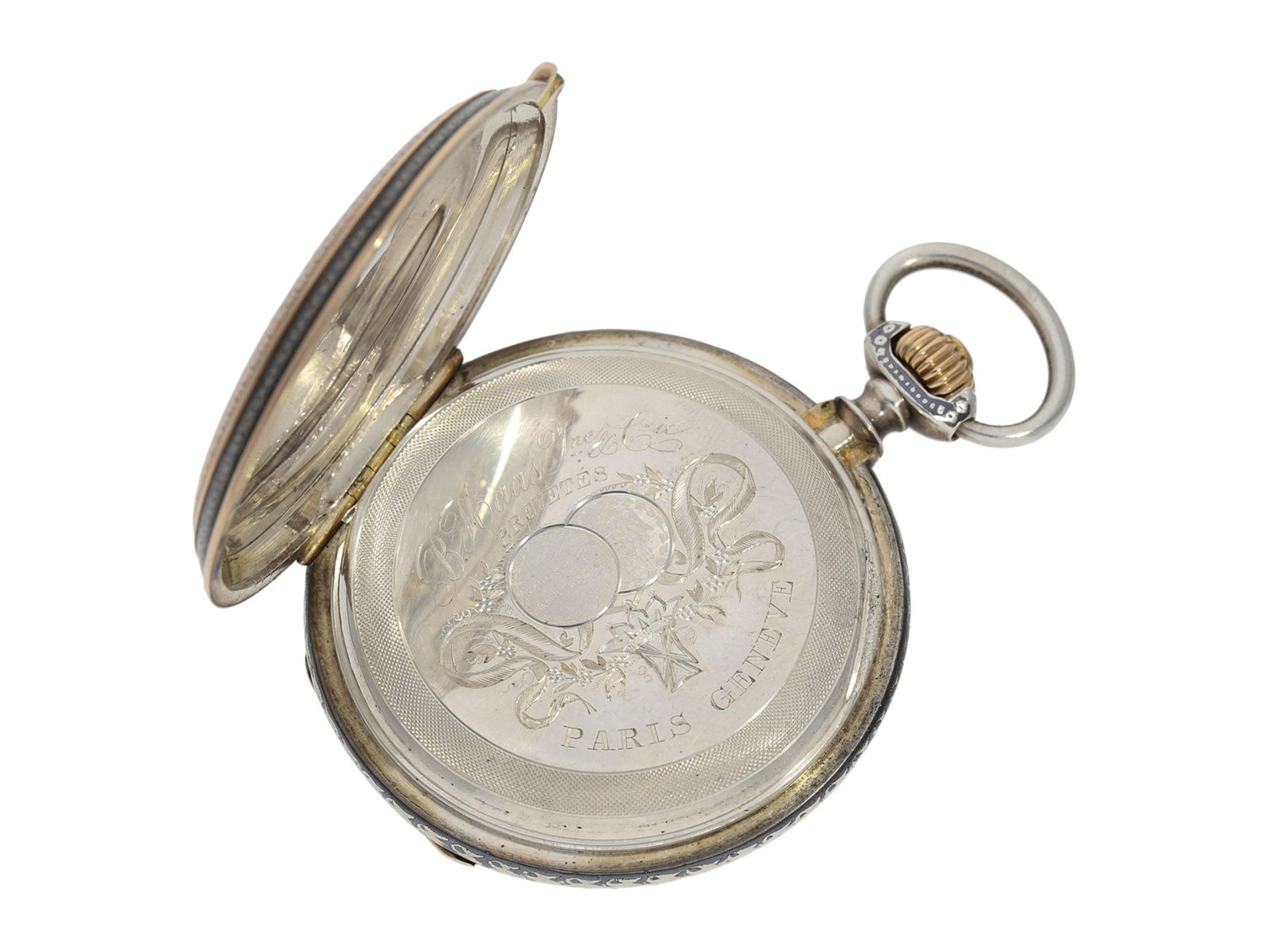 Pocket watch: extremely splendid Tula hunting case watch pink gold/ silver, high quality - Bild 5 aus 7