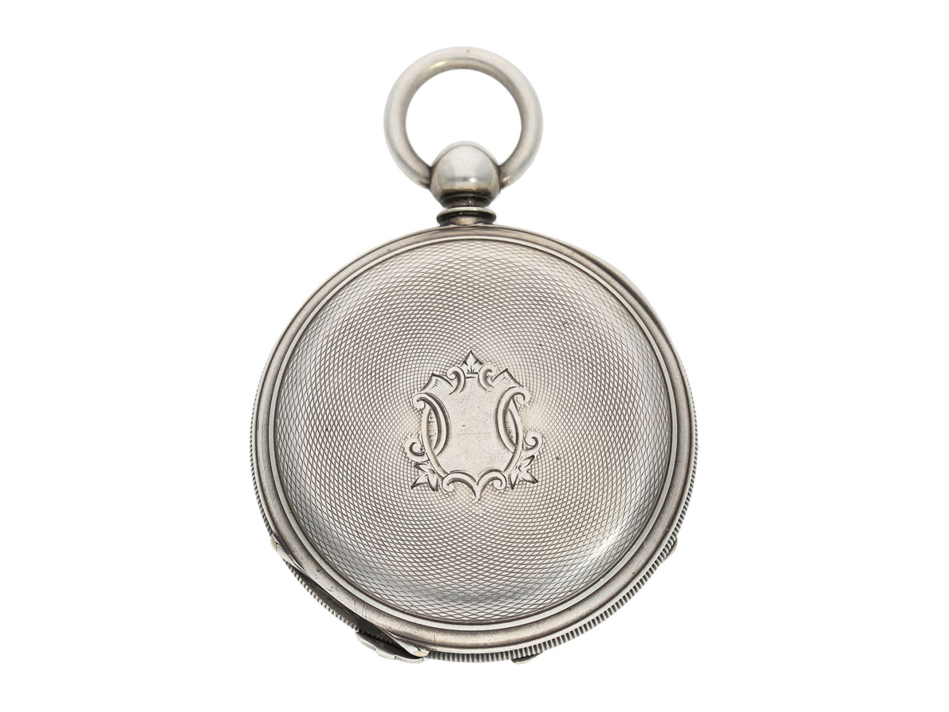 Pocket watch: early deck watch with 2 time zones and independent, stoppable centre seconds, signed - Bild 5 aus 5