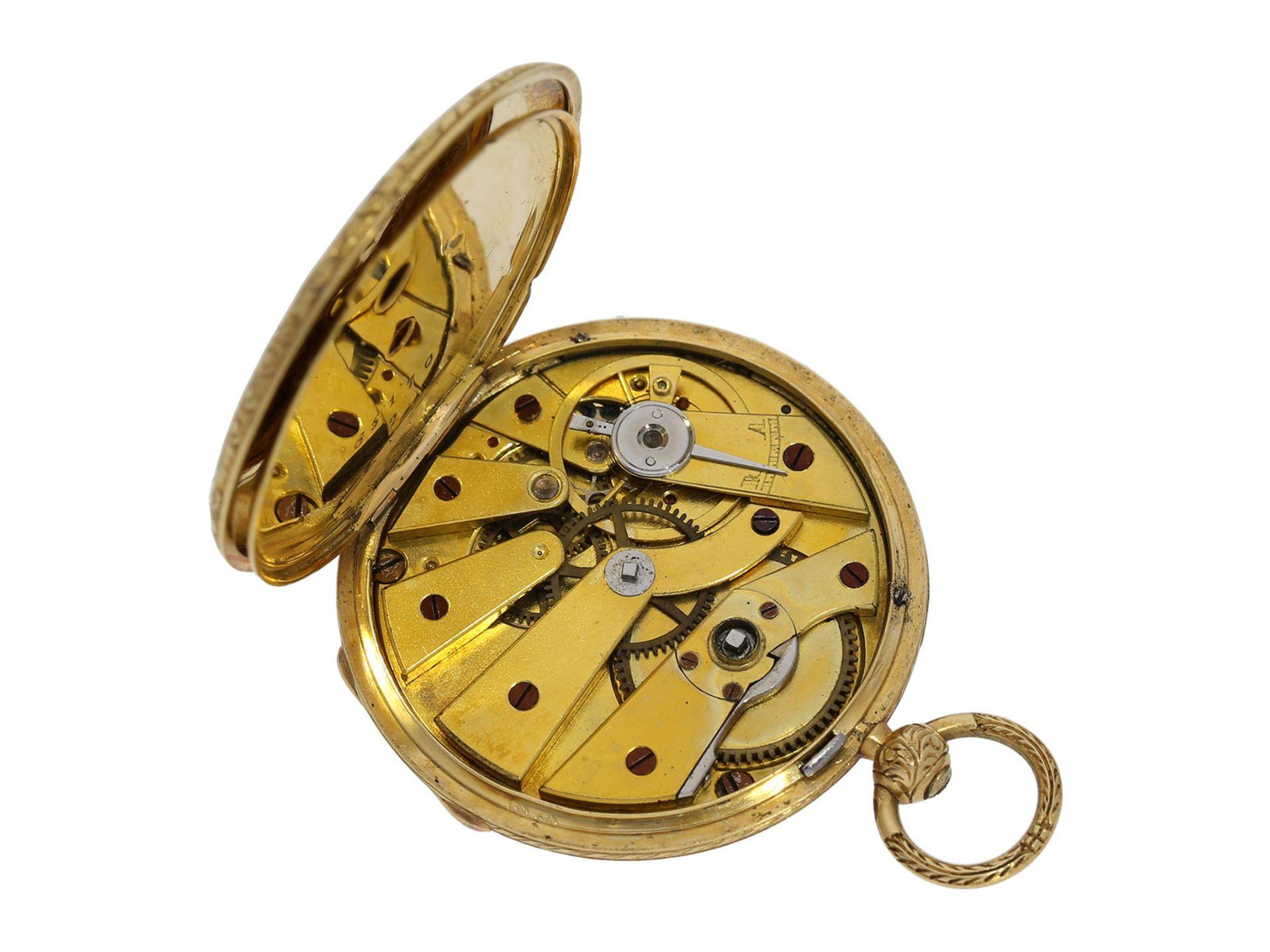Pocket watch/ pendant watch: elegant gold/ enamel lady's Lepine with diamond setting and original - Bild 3 aus 6