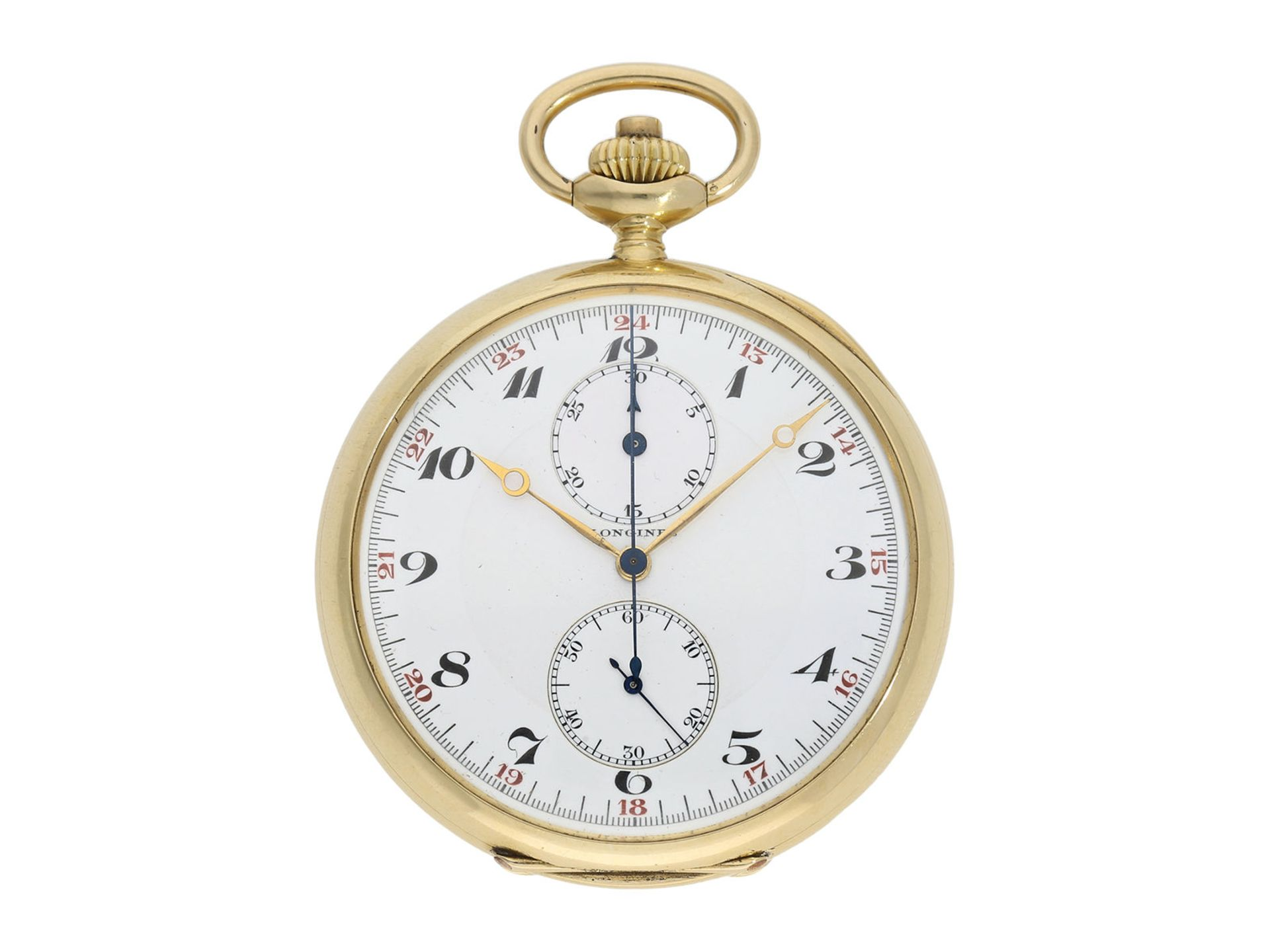 "Pocket watch: high-quality crown pusher chronograph ""Compteur"" in 18K gold, Longines ca. 1925Ca."