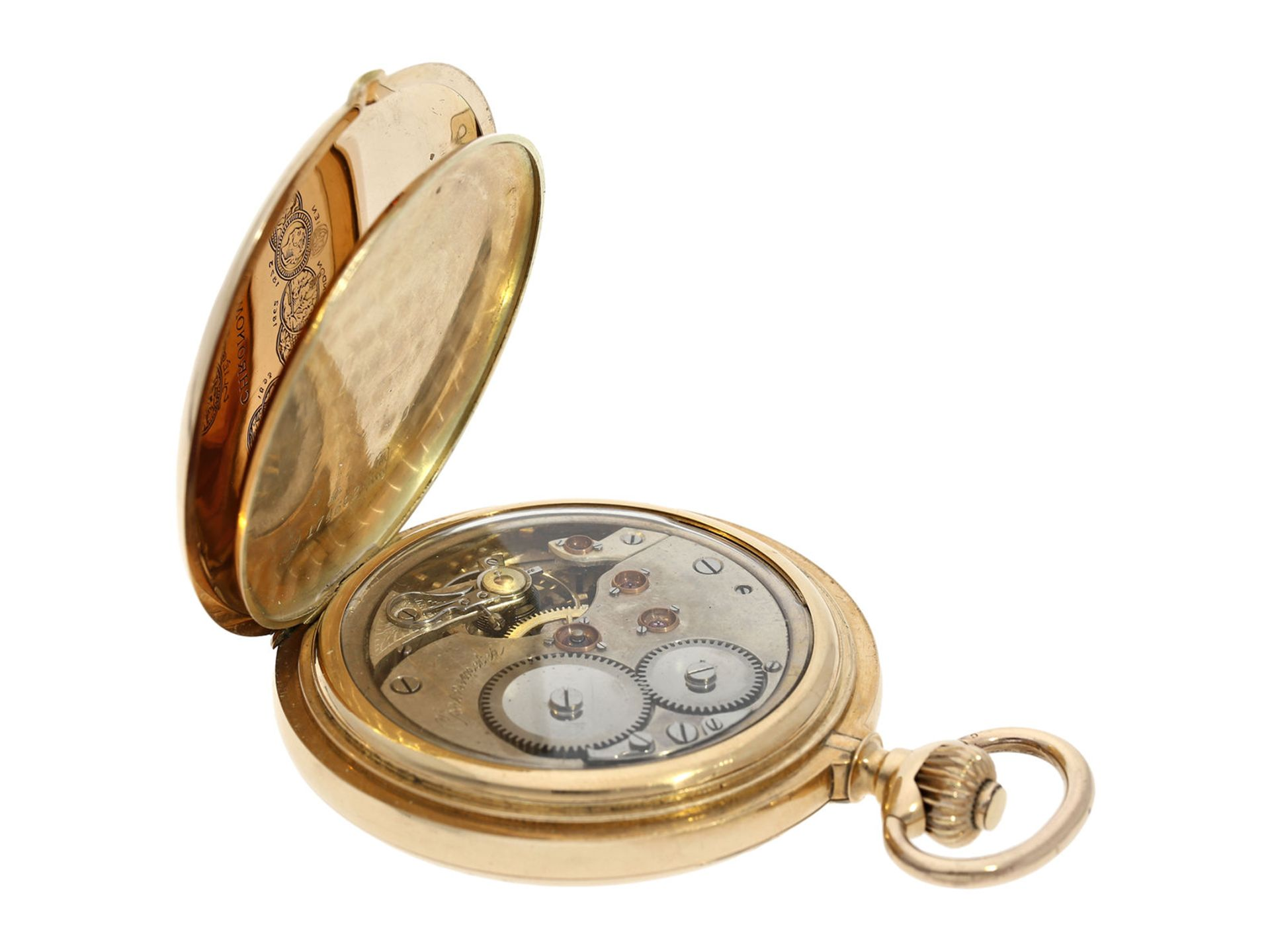 Pocket watch: especially heavy Swiss gold hunting case watch with chronometer escapement, ca. - Bild 6 aus 8