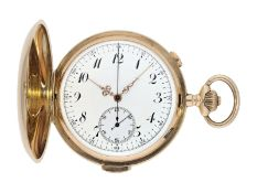 Pocket watch: large Swiss gold hunting case repeater with chronograph, brand Invicta, No. 77372, ca.