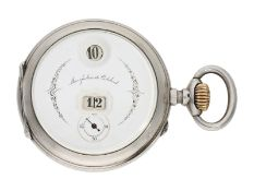 Pocket watch: rare digital pocket watch with jumping hour and jumping minute, Pallweber system,