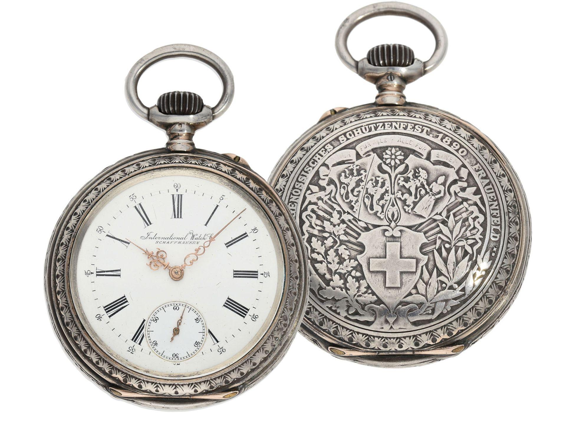 Pocket watch: large IWC marksman's watch, Federal Shooting Festival Frauenfeld 1890