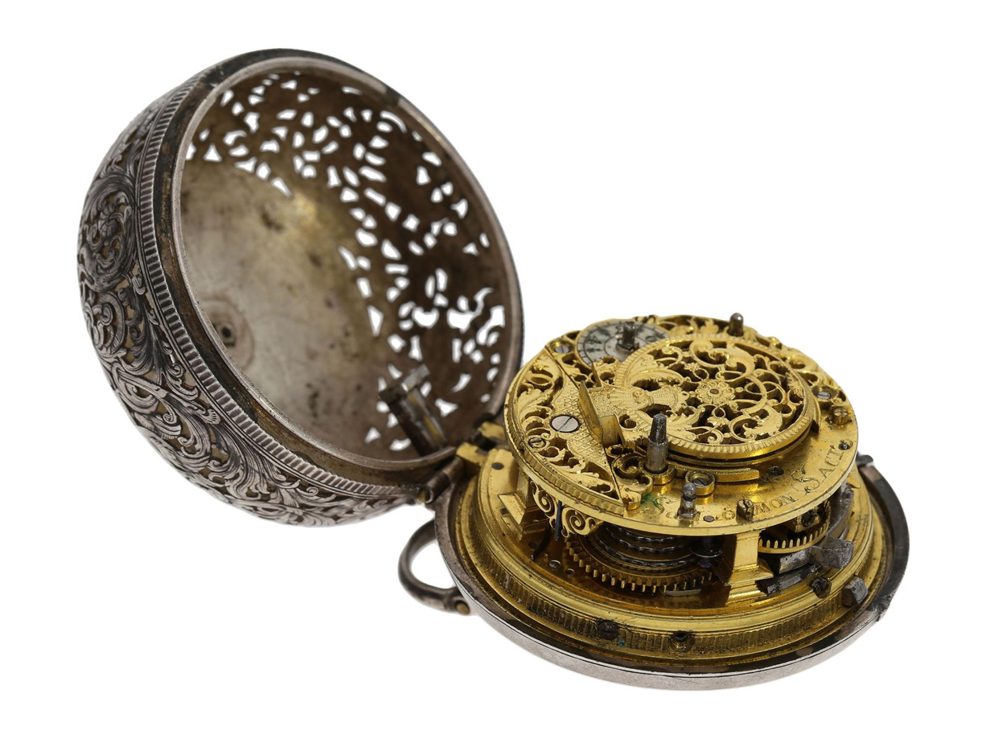 Pocket watch: Augsburg pair case repousse verge watch with relief case in exceptional quality and - Bild 8 aus 14
