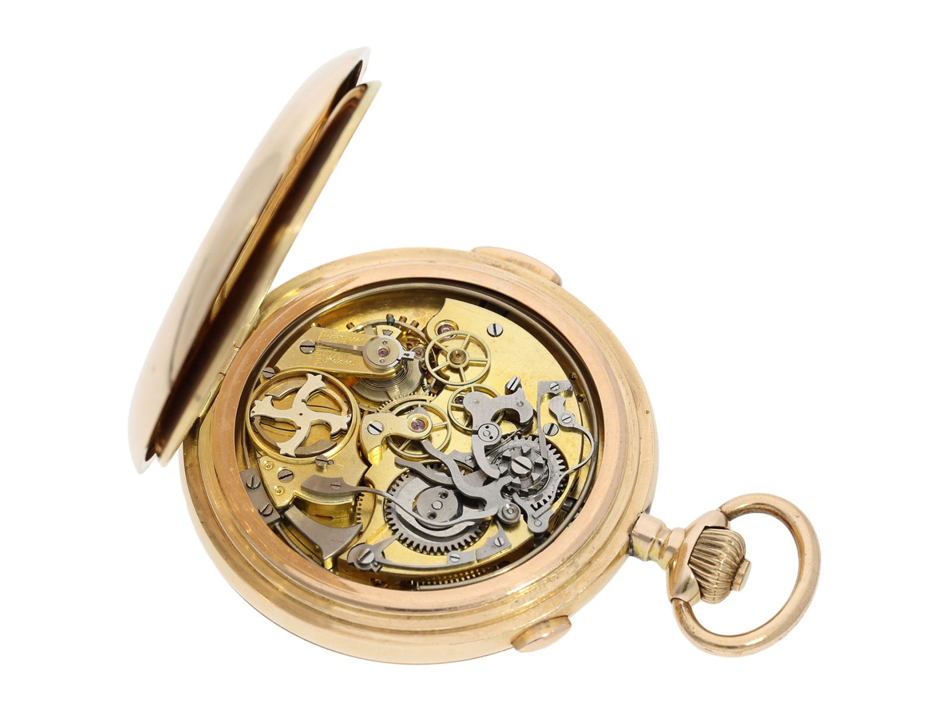 Pocket watch: large Swiss gold hunting case repeater with chronograph, brand Invicta, No. 77372, ca. - Bild 7 aus 8