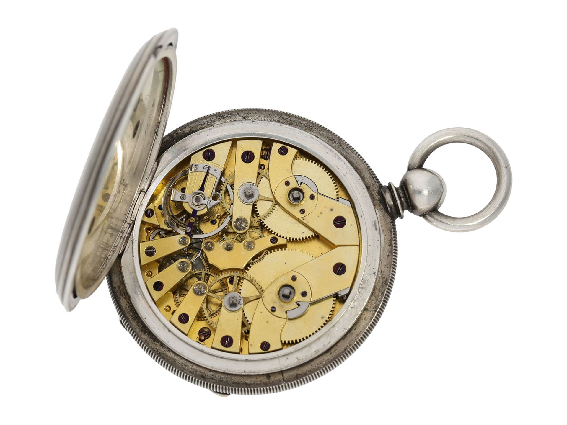 Pocket watch: early deck watch with 2 time zones and independent, stoppable centre seconds, signed - Bild 2 aus 5