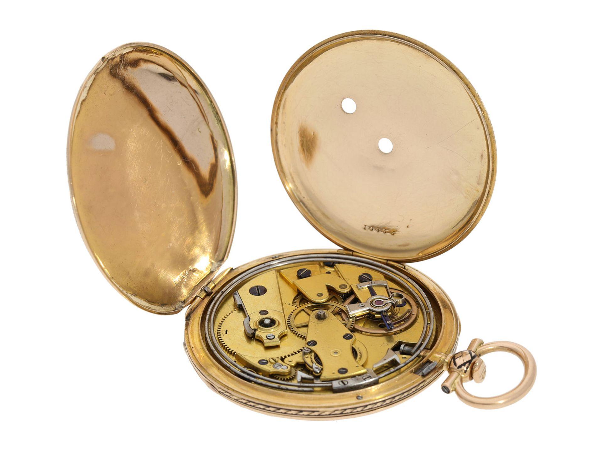 Pocket watch: magnificent gold/ enamel Lepine with rare case decoration and repeater, fine calibre - Bild 3 aus 7