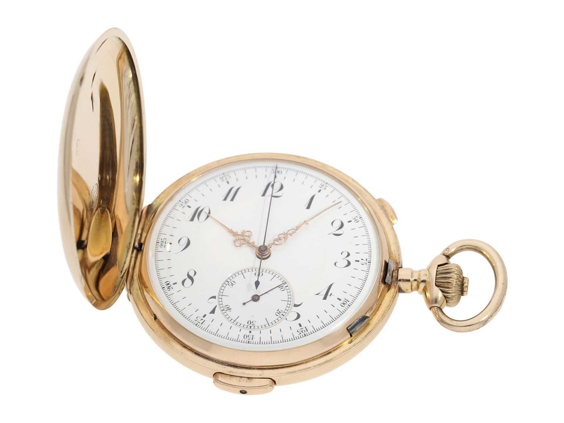 Pocket watch: large Swiss gold hunting case repeater with chronograph, brand Invicta, No. 77372, ca. - Bild 2 aus 8