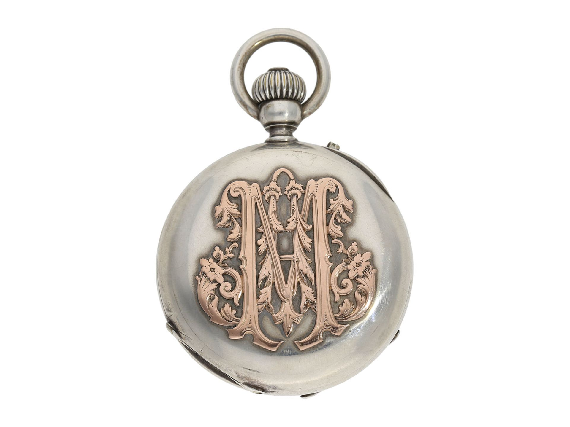 Pocket watch: extremely rare and mysterious very fine quality chronograph with original box, gold/ - Bild 2 aus 6