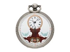Pocket watch: large man's pocket watch with center seconds and mock pendulum, Switzerland for the