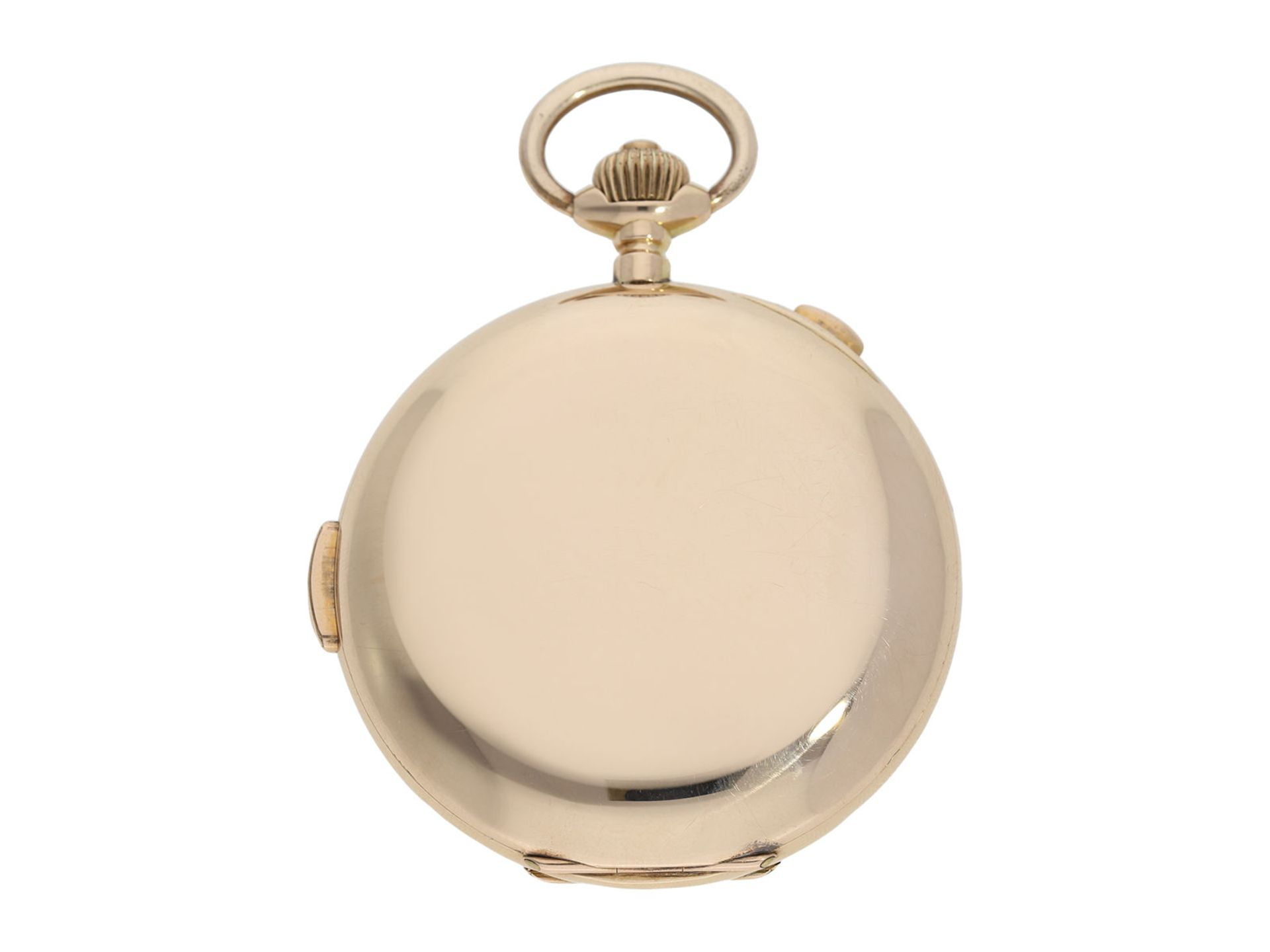 Pocket watch: large Swiss gold hunting case repeater with chronograph, brand Invicta, No. 77372, ca. - Bild 6 aus 8