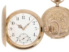 Pocket watch: extremely decorative pink gold splendour hunting case watch with Renaissance case,
