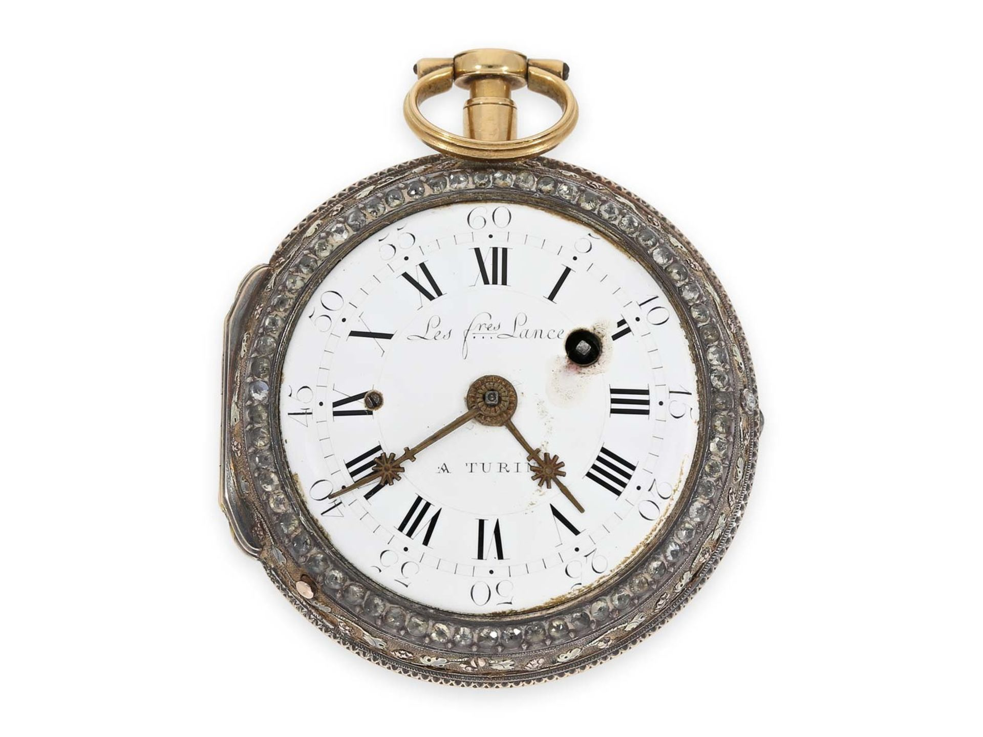 Pocket watch: extraordinary large Italian verge watch repeater a toc et a tact, Les Freres Lance - Bild 2 aus 4