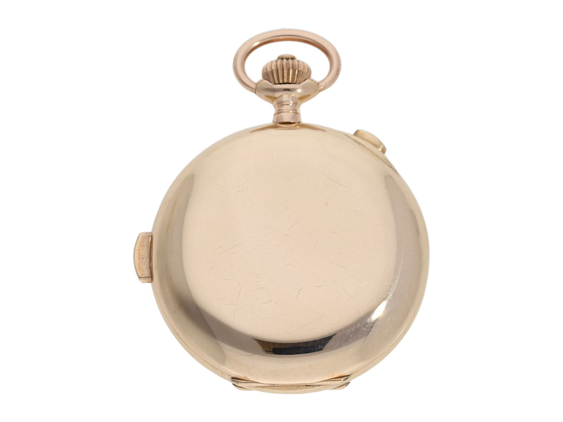 Pocket watch: especially large and heavy Swiss gold hunting case minute repeater with chronograph, - Bild 8 aus 9
