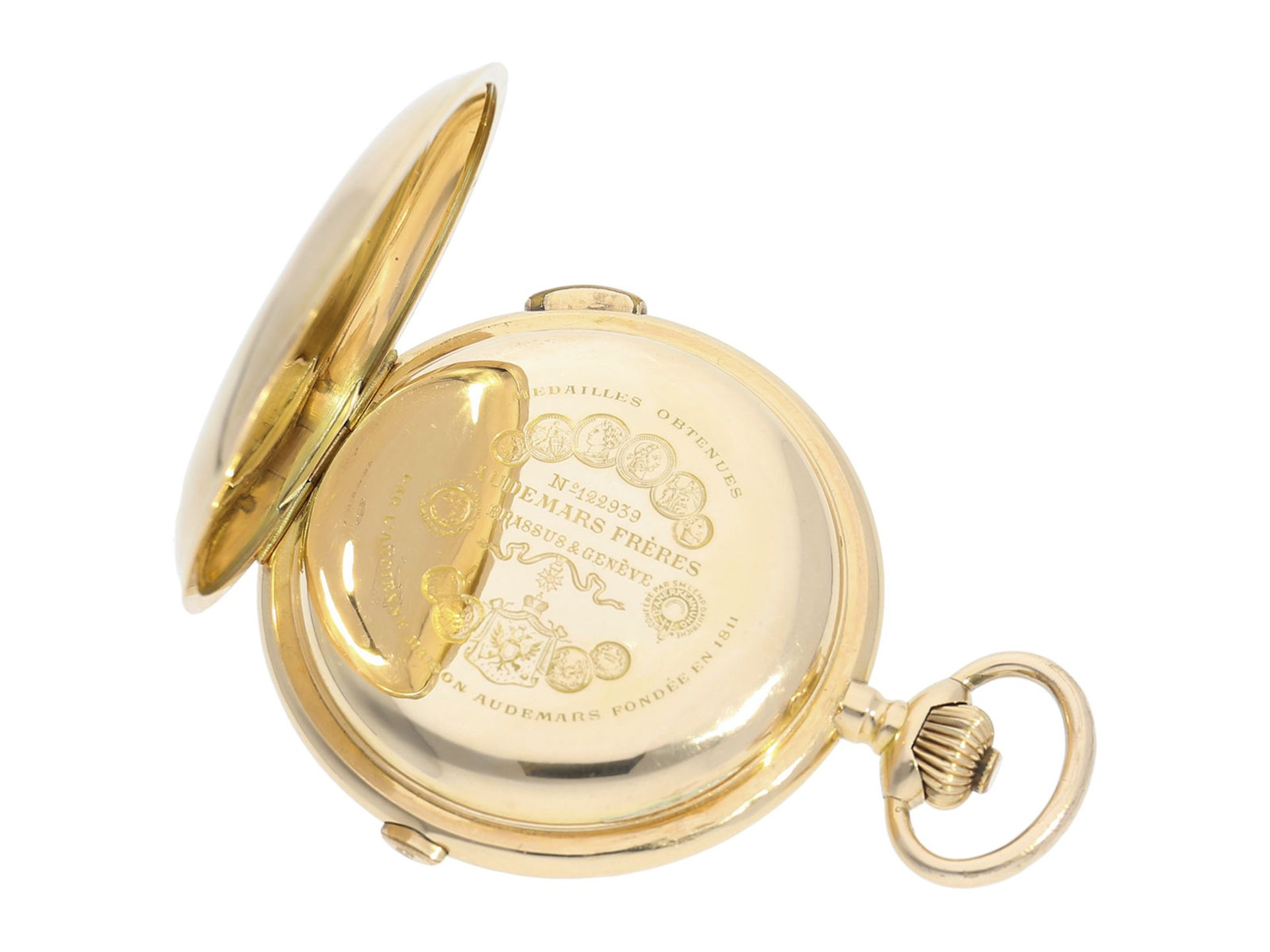 Pocket watch: especially large and heavy Swiss gold hunting case repeater with chronograph, Audemars - Bild 5 aus 8