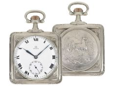 Pocket watch: very rare square Art Nouveau Omega pocket watch, silver, ca. 1900
