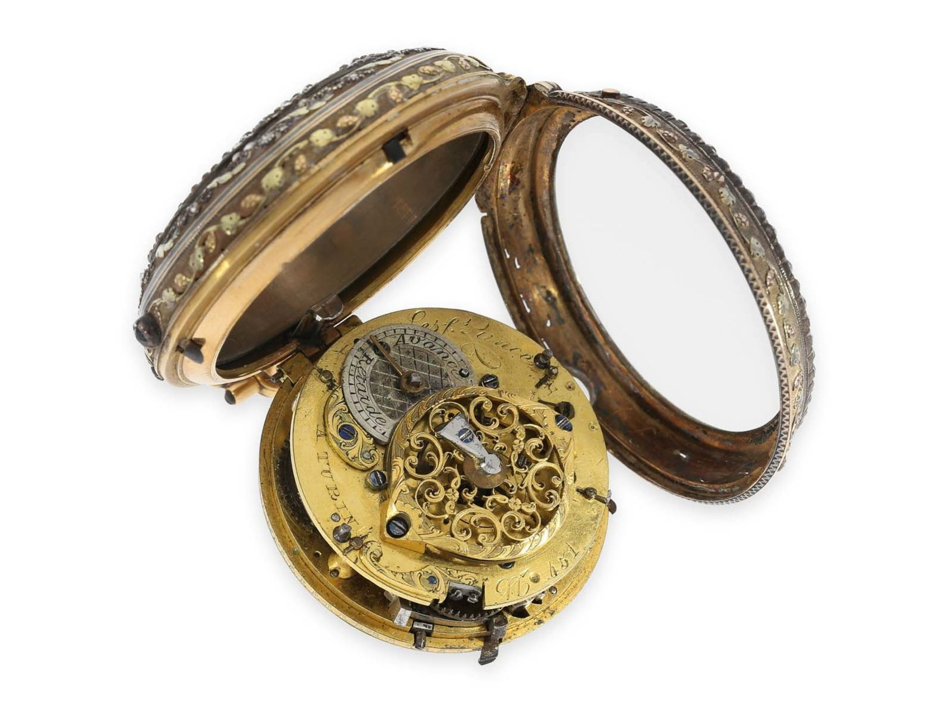 Pocket watch: extraordinary large Italian verge watch repeater a toc et a tact, Les Freres Lance - Bild 3 aus 4