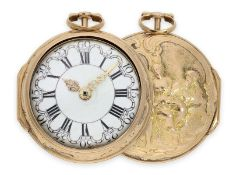 Pocket watch: early triple case gold repousse verge watch, signed Rose London, ca. 1770